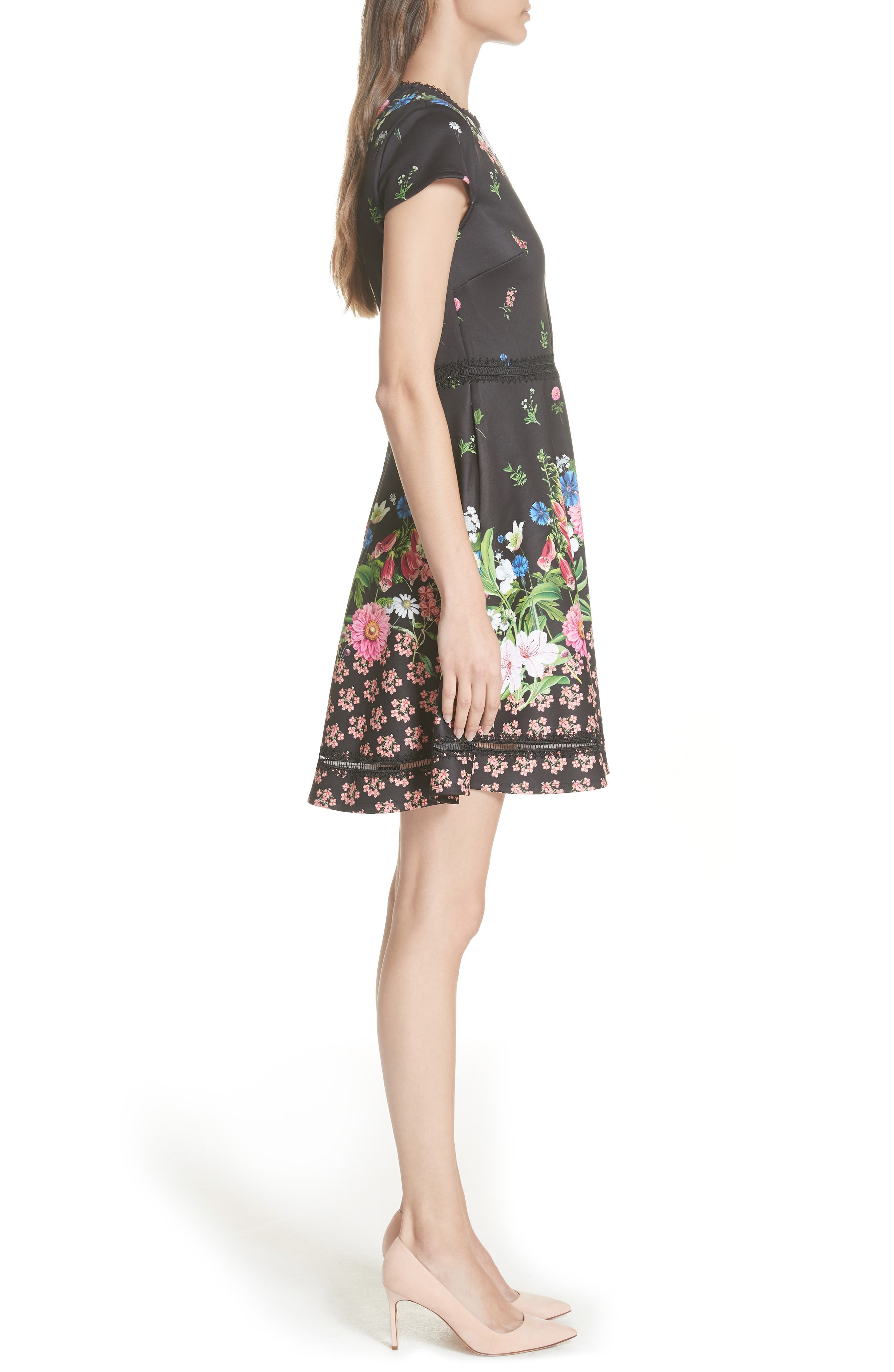 Daissie Florence Trim Skater Dress,                             Alternate thumbnail 3, color,                             BLACK