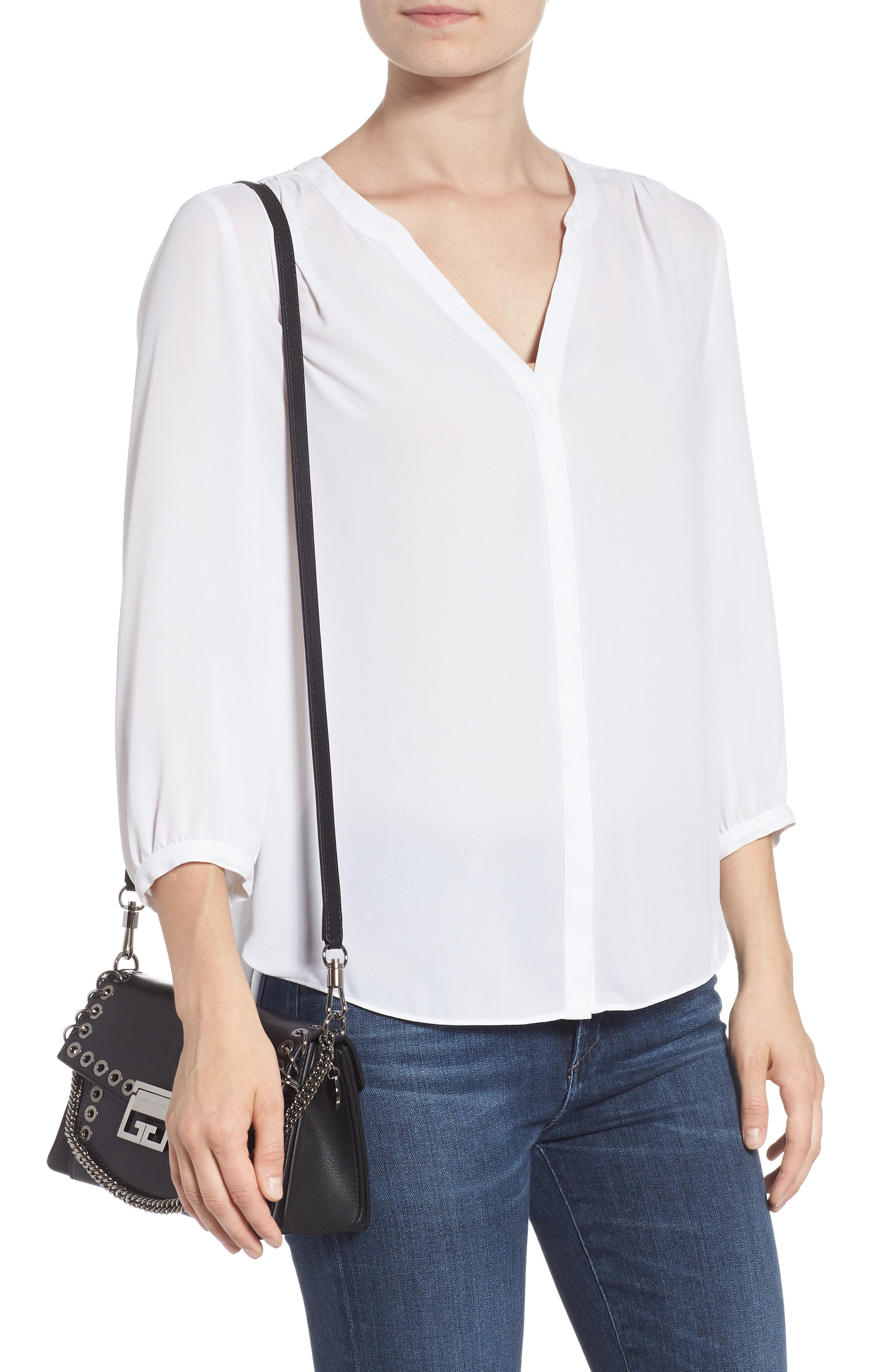 GIVENCHY,                             GV3 Eyelet and Rings Leather Shoulder Bag,                             Alternate thumbnail 2, color,                             BLACK