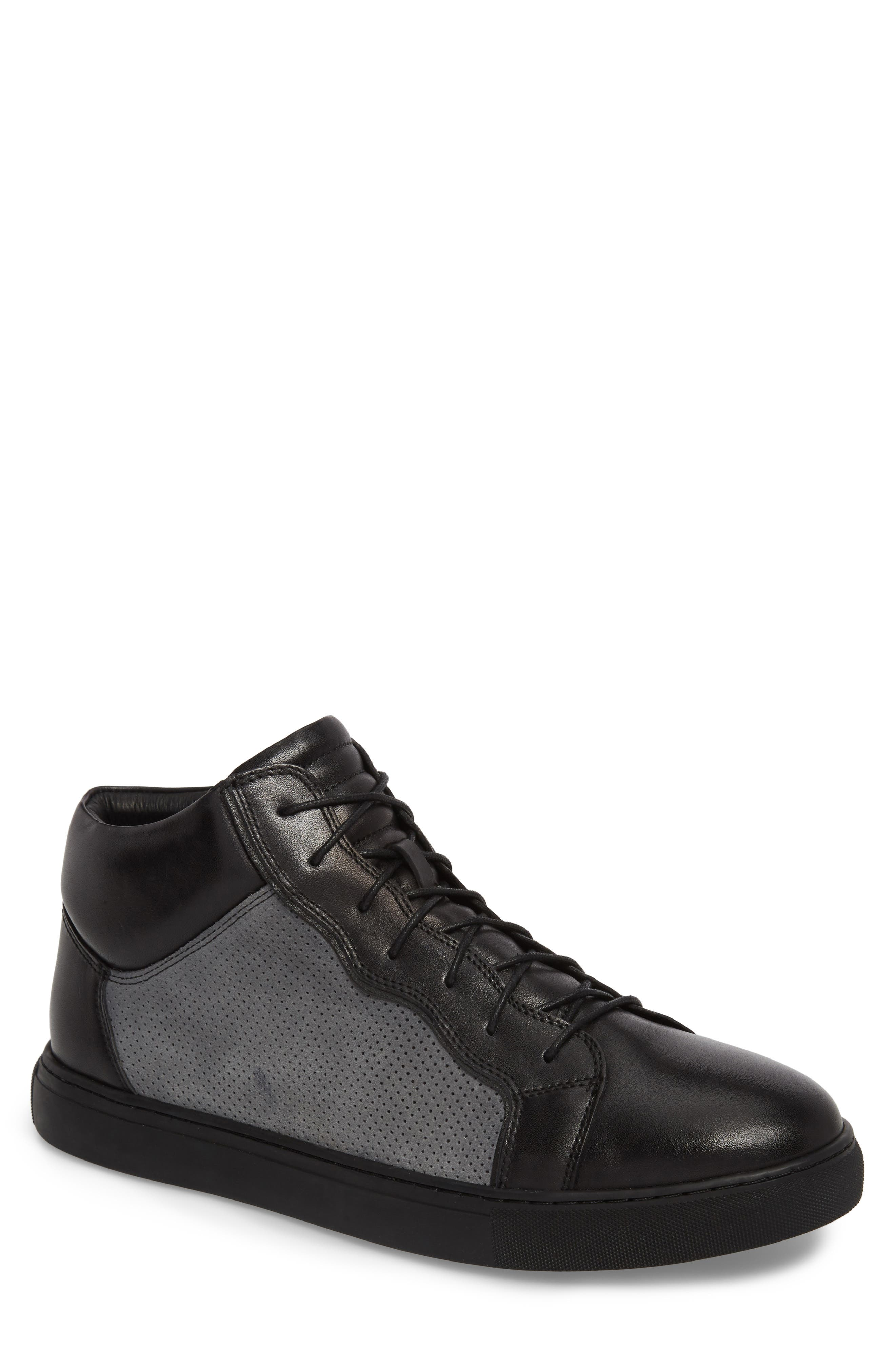 Twist Perforated High Top Sneaker,                             Main thumbnail 1, color,                             BLACK LEATHER/ SUEDE