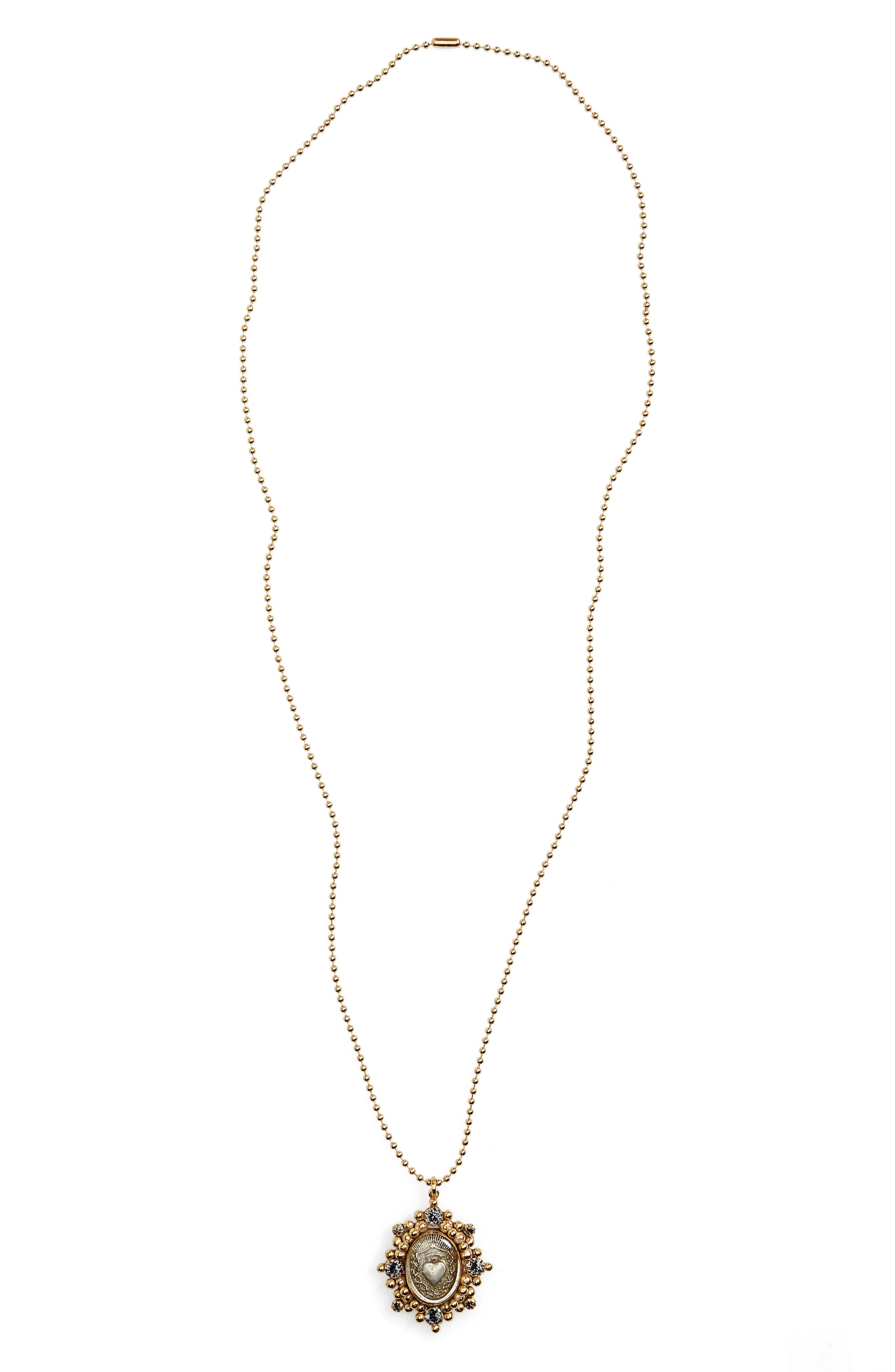 Sacred Heart Pendant Necklace,                             Main thumbnail 2, color,