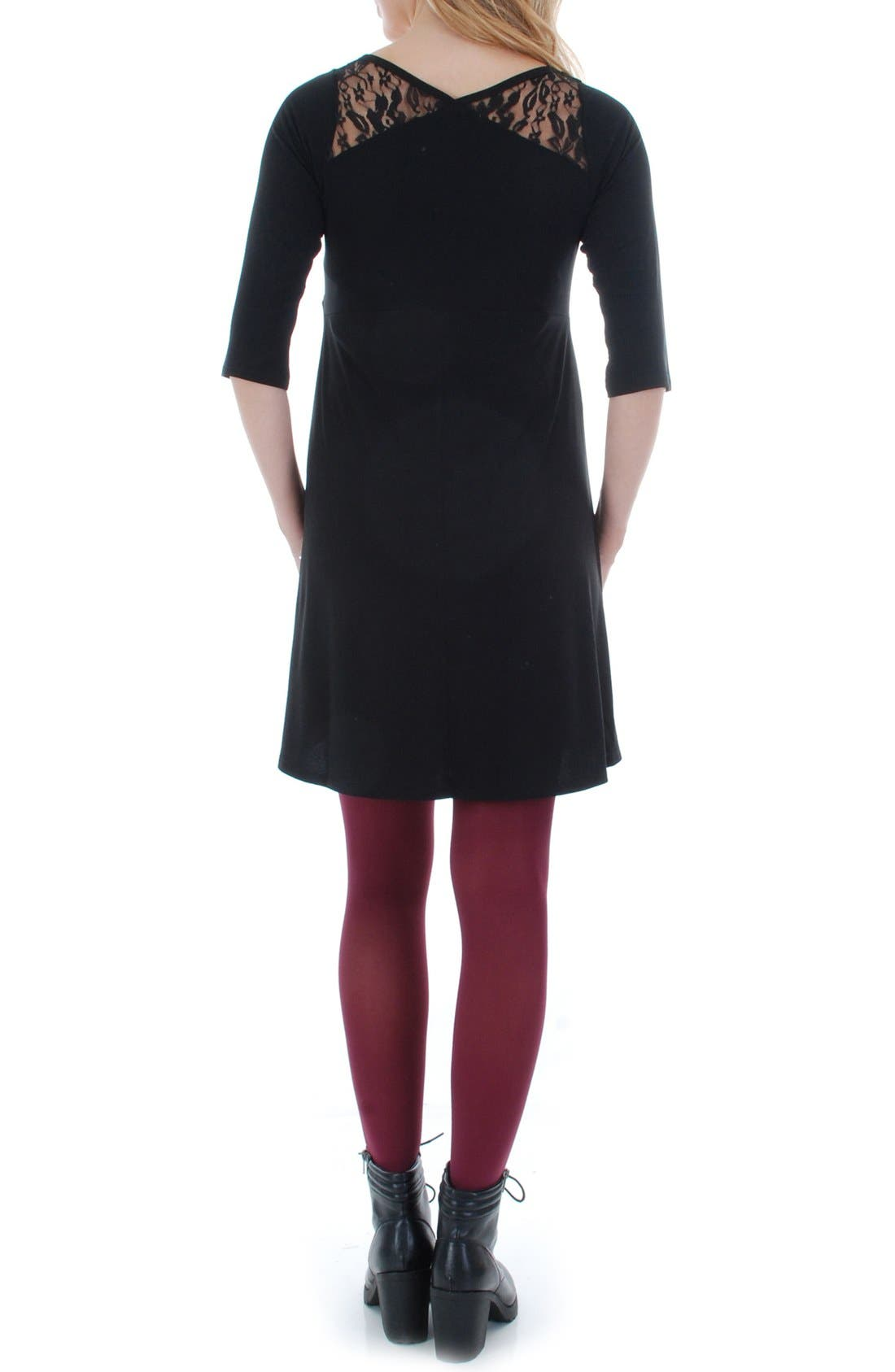 Pipa Maternity Skater Dress,                             Alternate thumbnail 2, color,                             BLACK