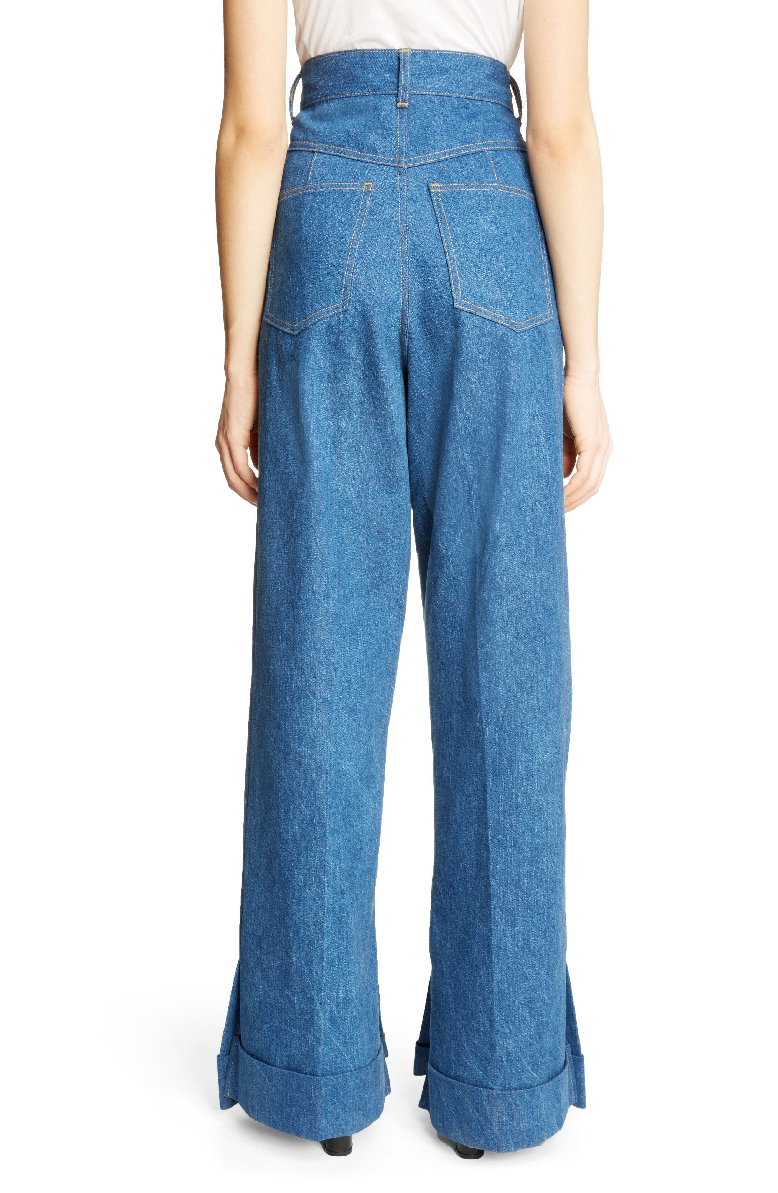 Cuffed Wide Leg Jeans,                             Alternate thumbnail 2, color,