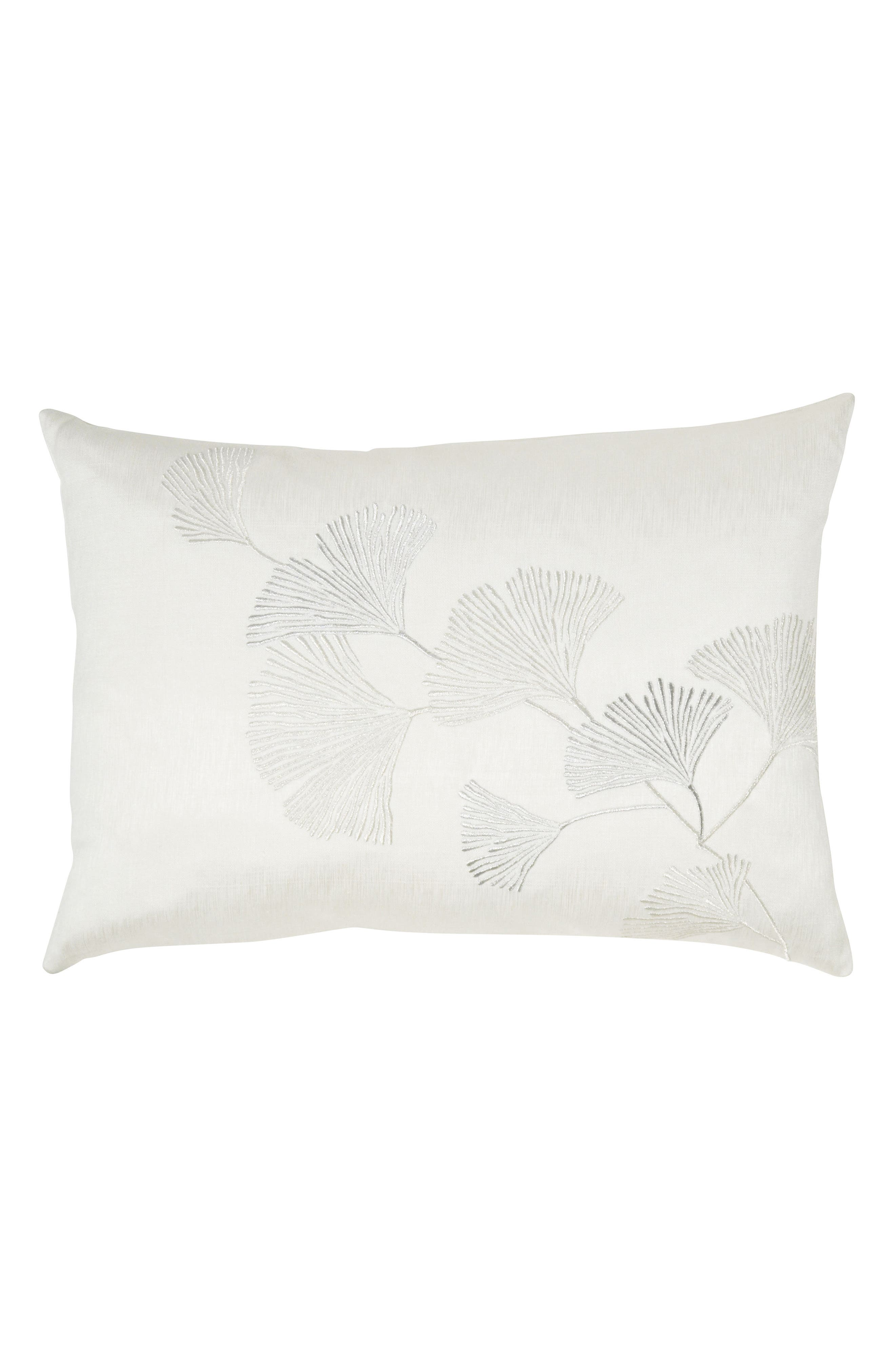 Ginkgo Leaf Embroidered Accent Pillow,                         Main,                         color, IVORY