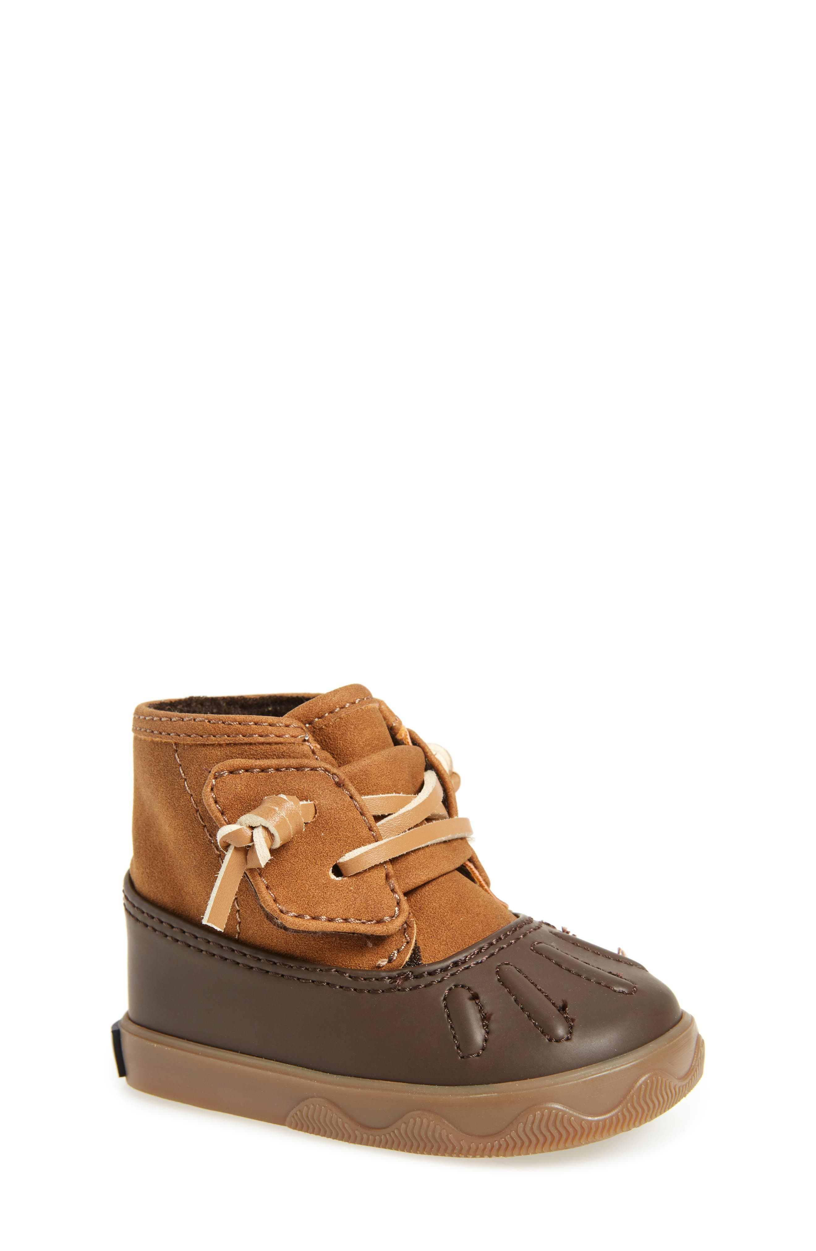 Sperry Icestorm Crib Duck Bootie,                             Main thumbnail 1, color,                             TAN/ BROWN