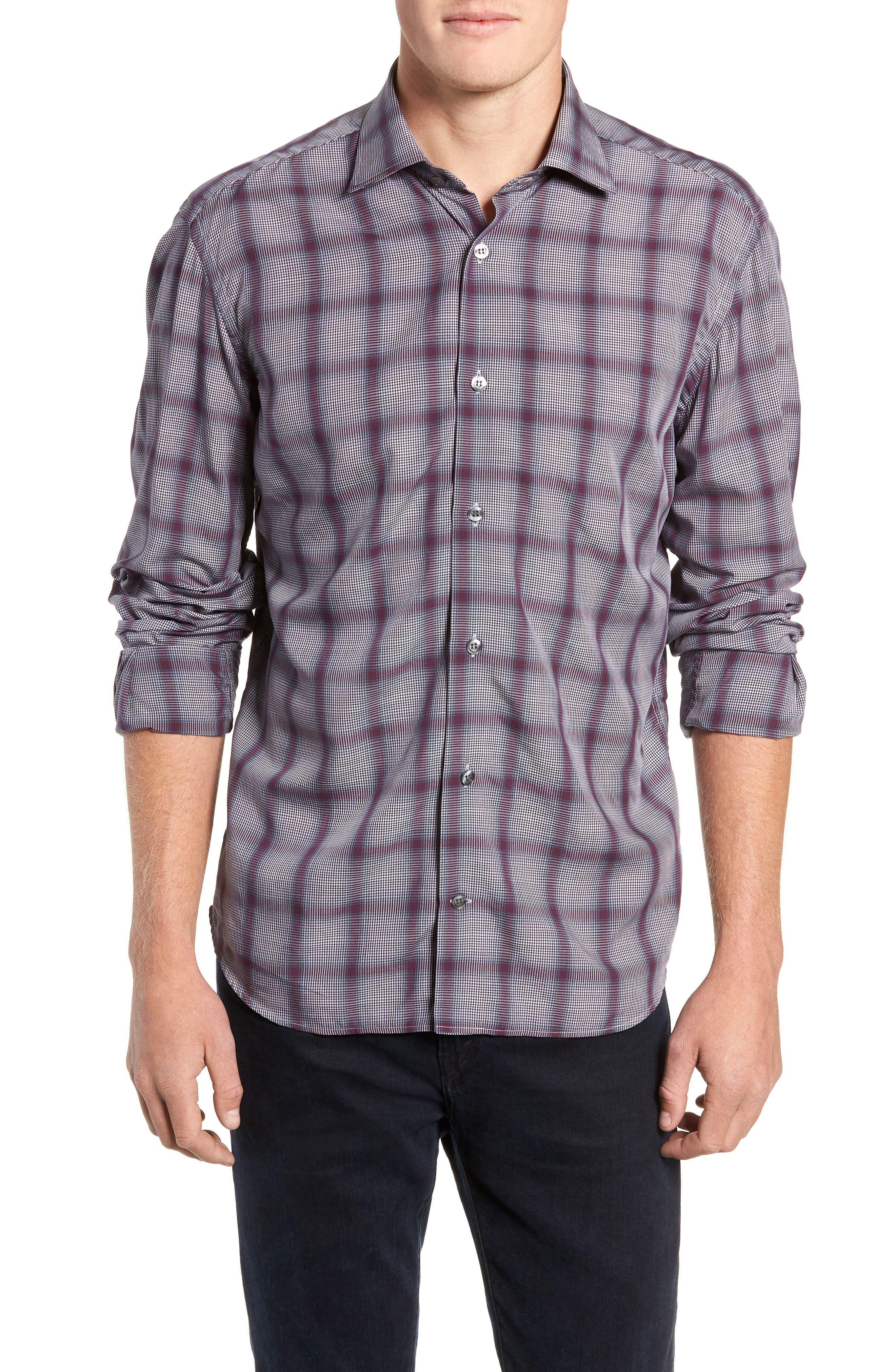 Tailored Fit Plaid Sport Shirt, Main, color, 600