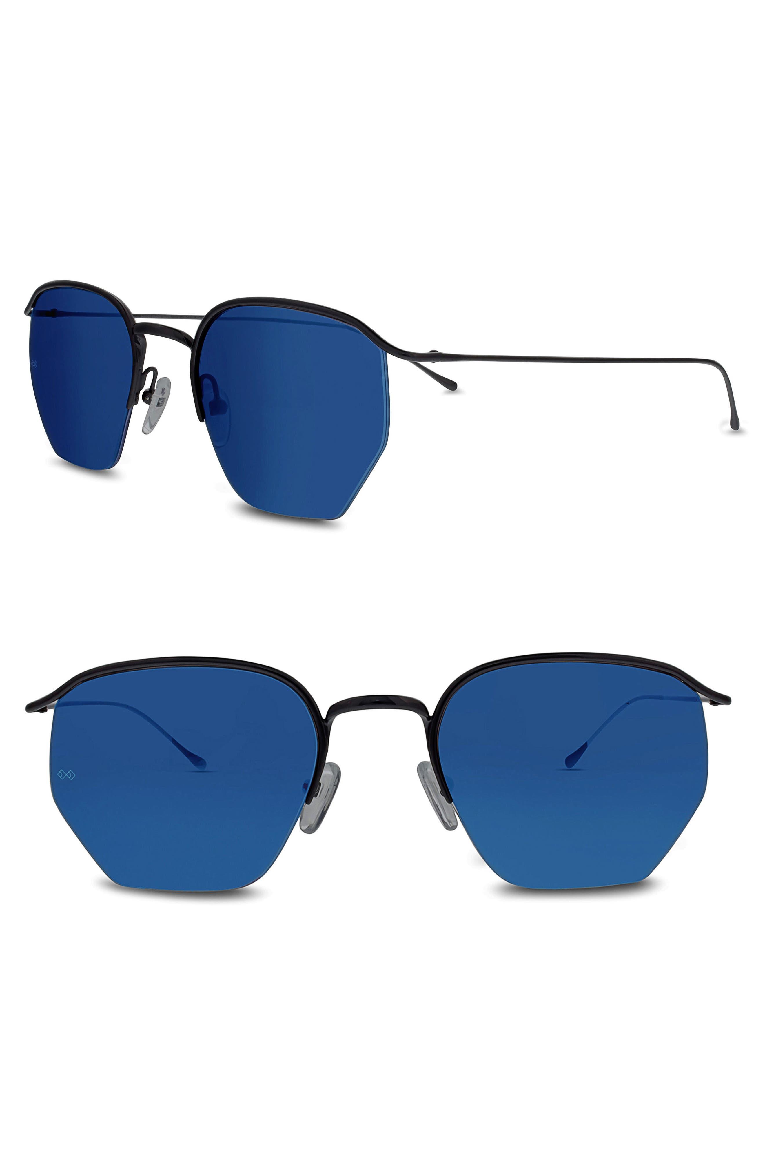 Geo I 51mm Semi Rimless Sunglasses,                             Main thumbnail 1, color,                             MATTE BLACK/ BLUE