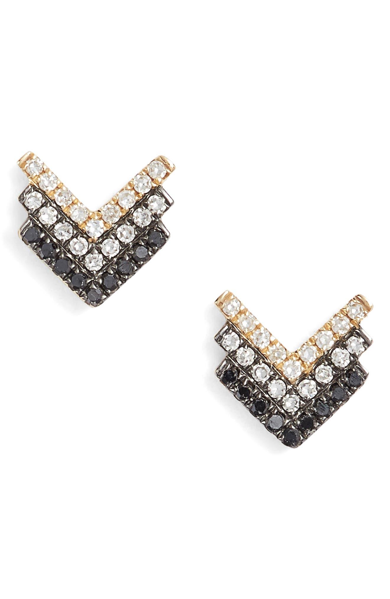 Chevron Diamond Stud Earrings,                         Main,                         color, 710