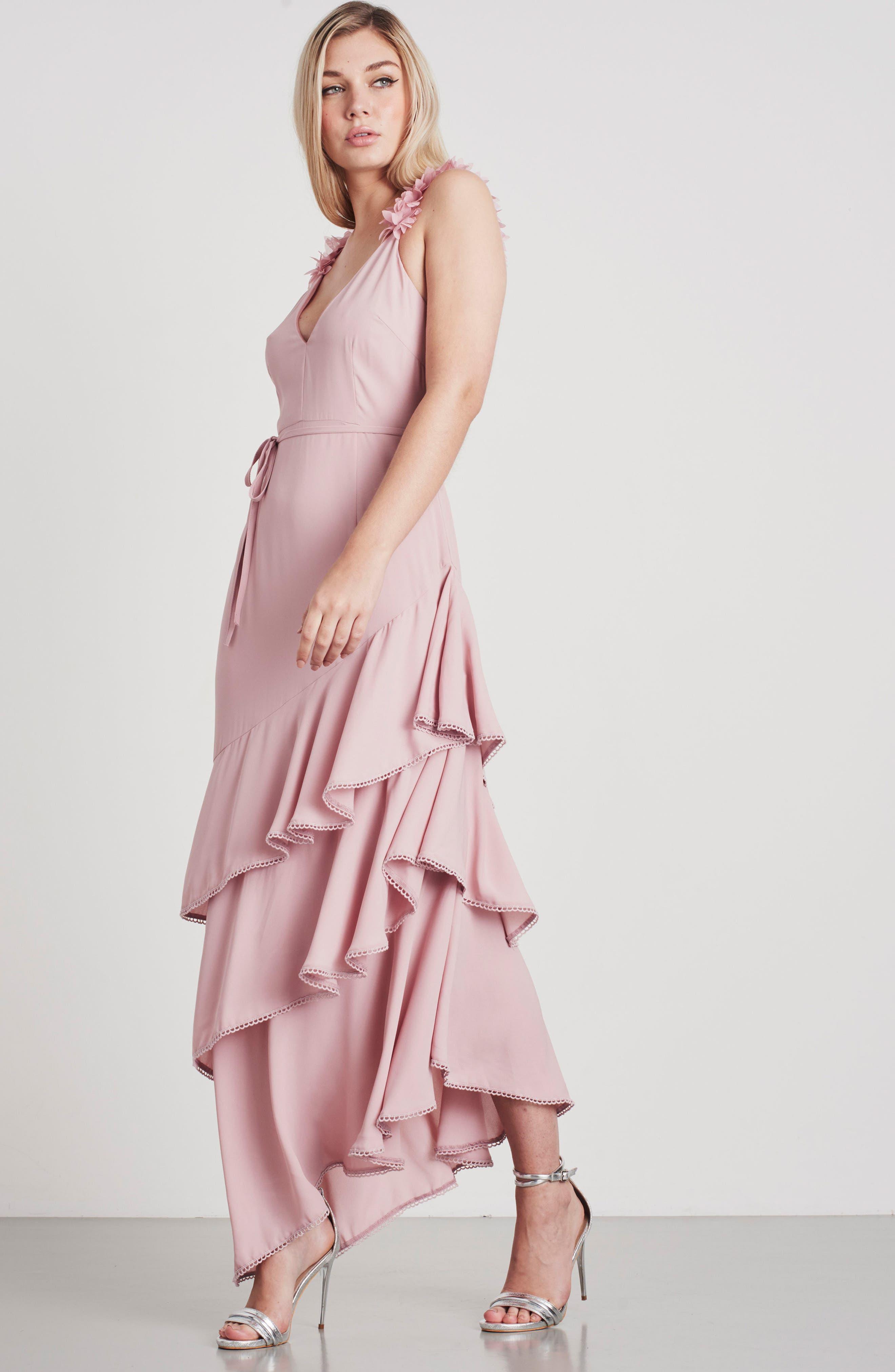 Ruffled Asymmetrical Maxi Dress,                             Alternate thumbnail 8, color,