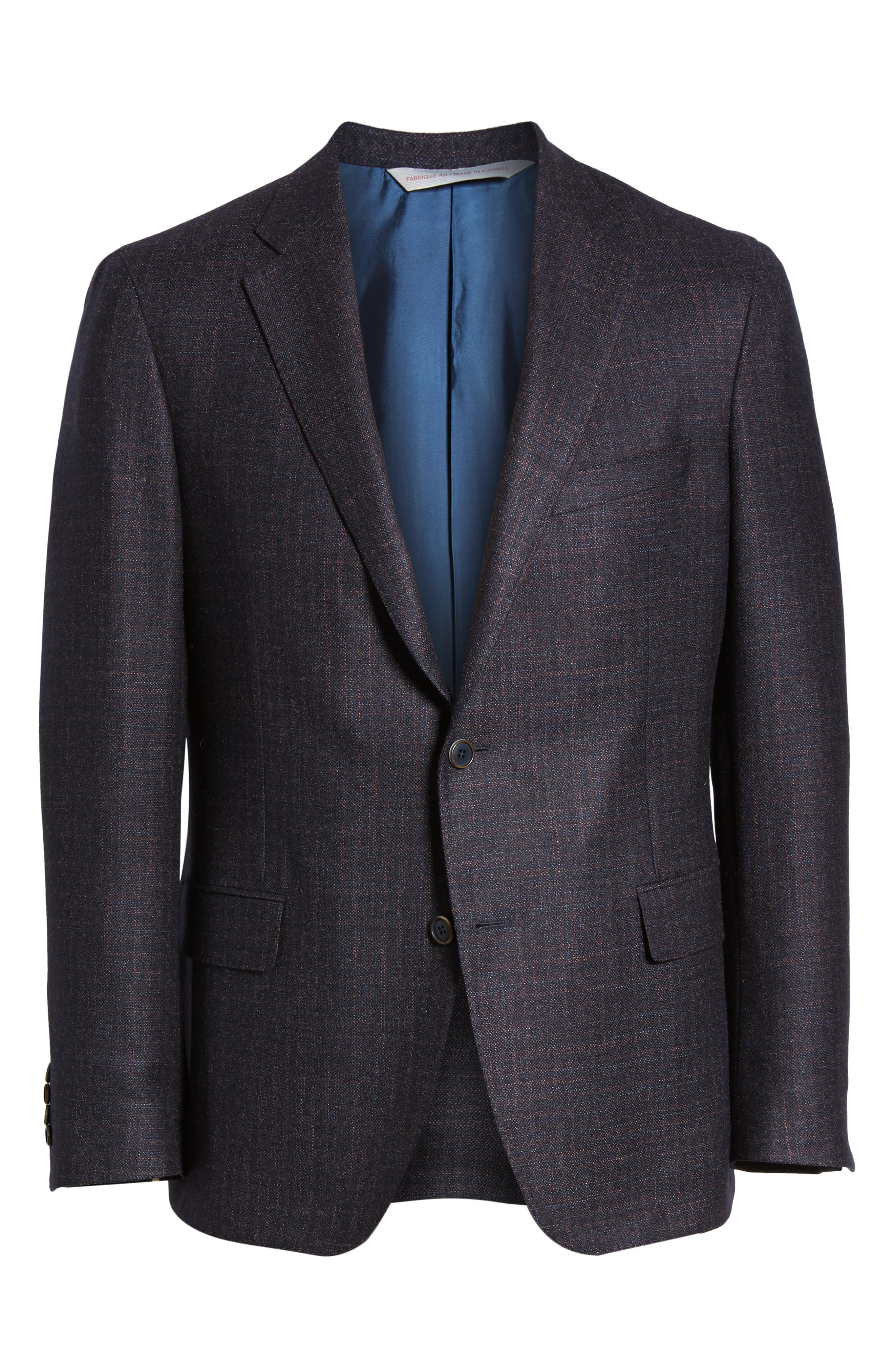 Classic Fit Wool Blazer,                             Alternate thumbnail 5, color,                             NAVY/ BERRY