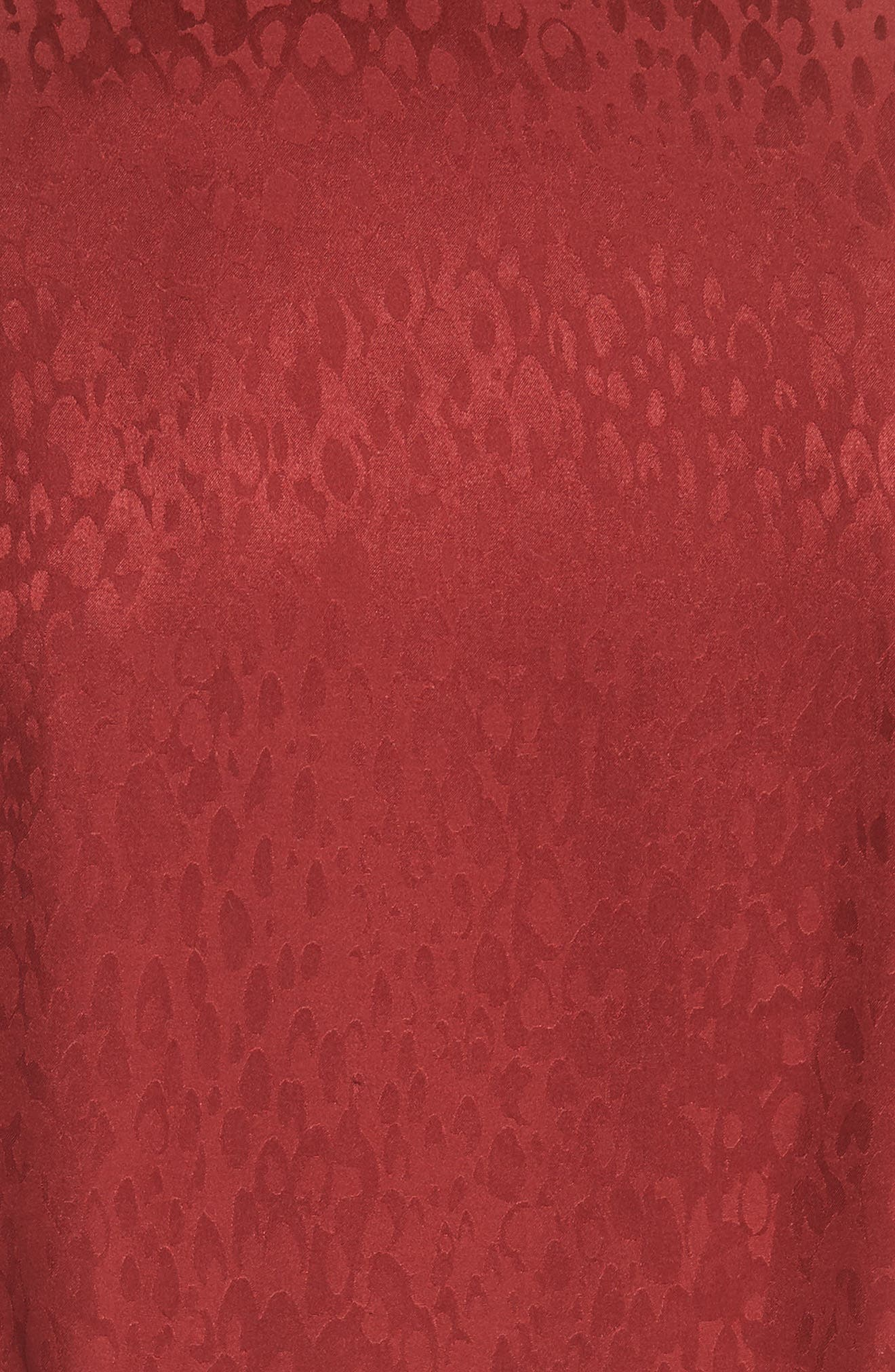 Carolina Puff Shoulder Silk Jacquard Dress,                             Alternate thumbnail 6, color,                             CRIMSON
