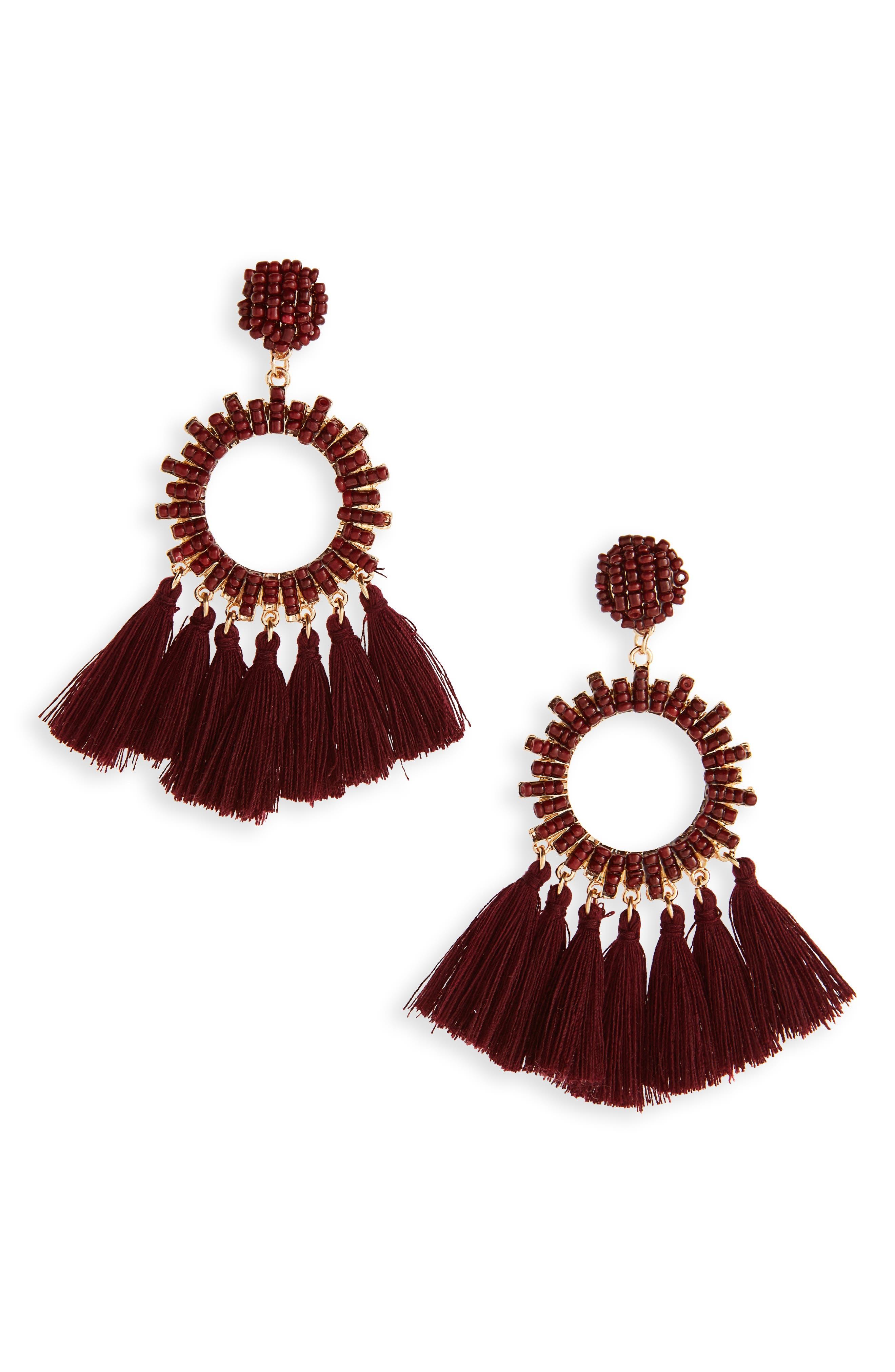 Beaded Tassel Hoop Earrings,                         Main,                         color, 710