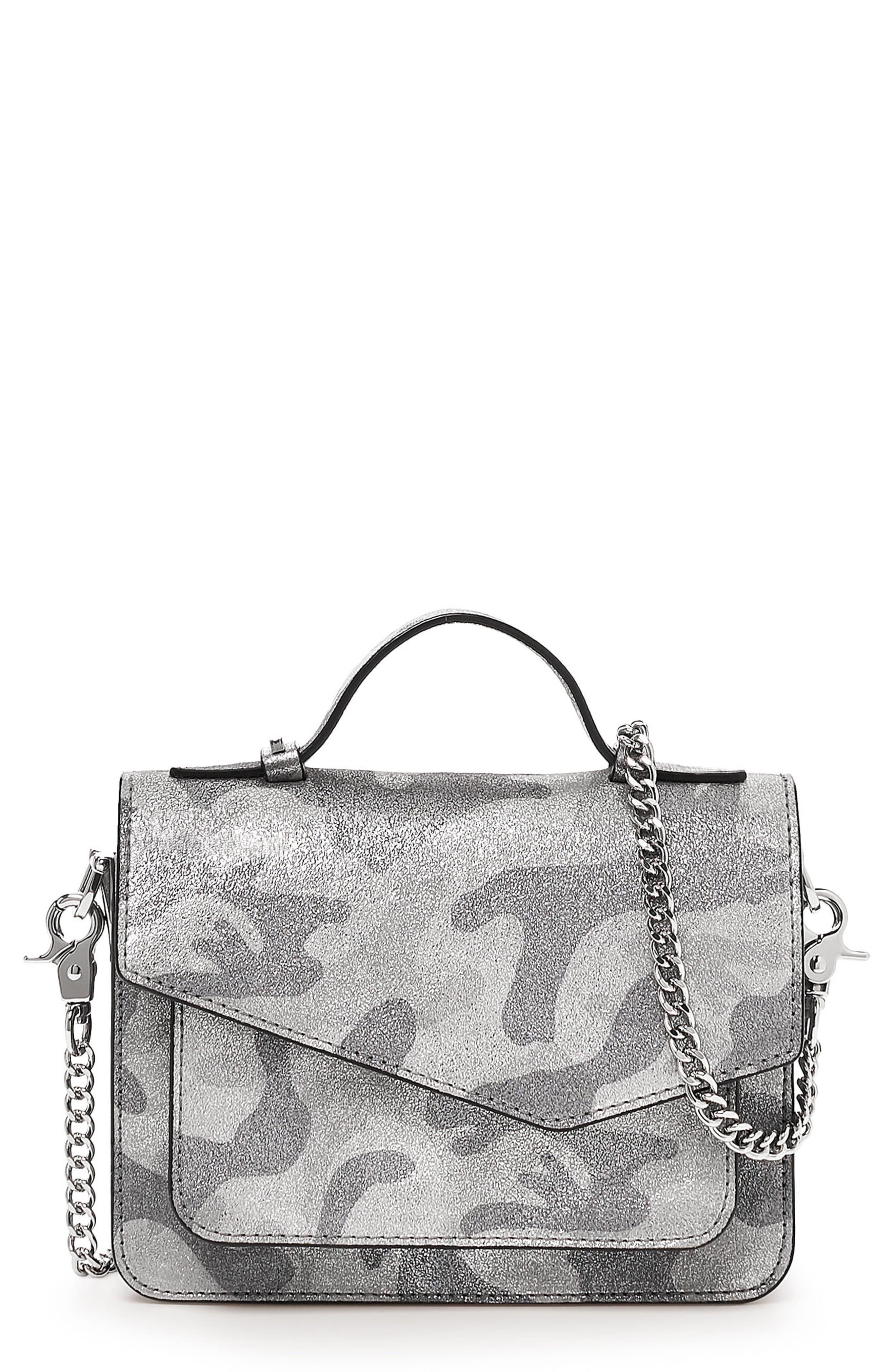 Mini Cobble Hill Calfskin Leather Crossbody Bag,                             Main thumbnail 1, color,                             SILVER CAMO