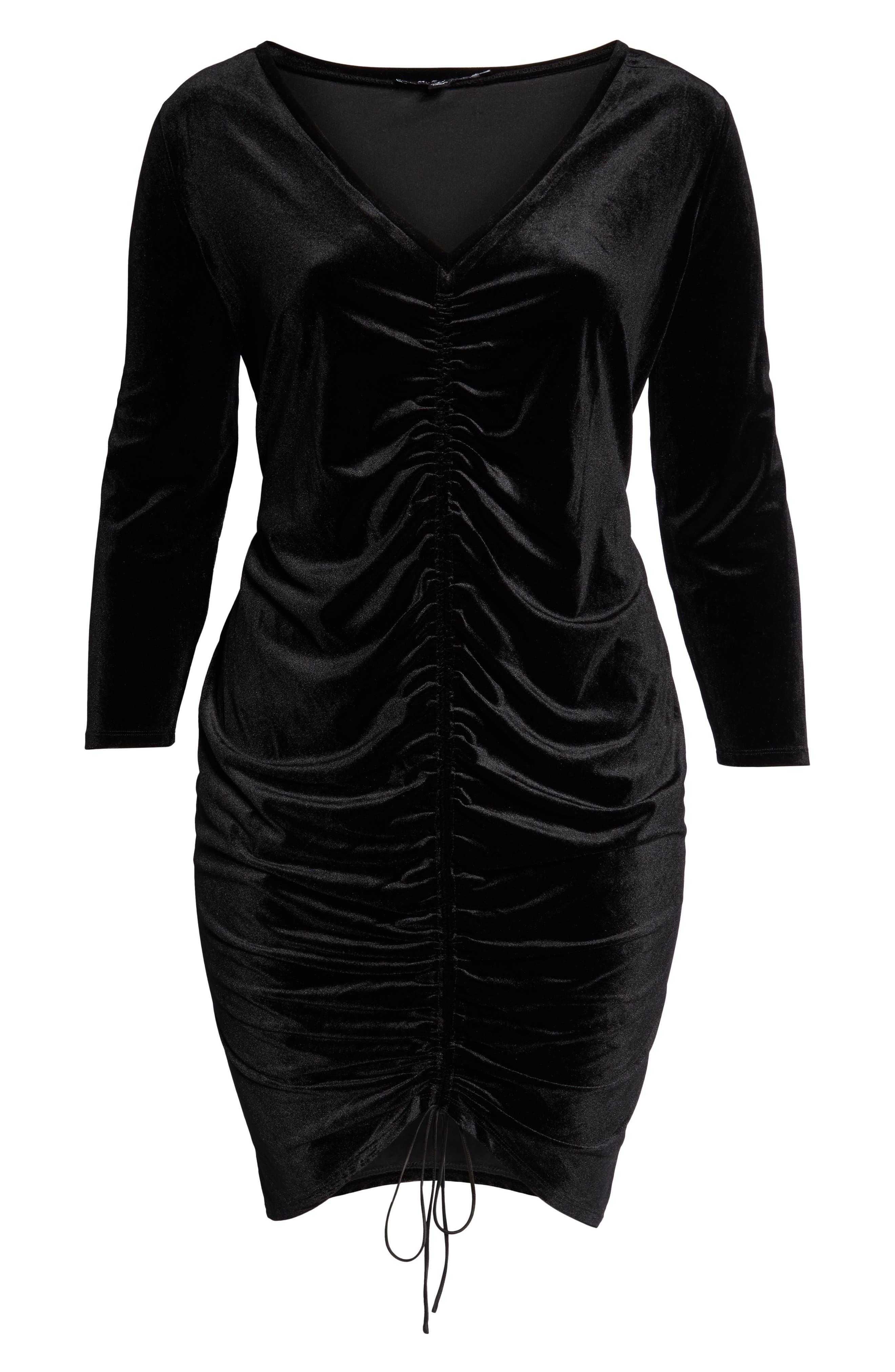 Ruched Velvet Dress,                             Alternate thumbnail 4, color,                             BLACK BEAUTY