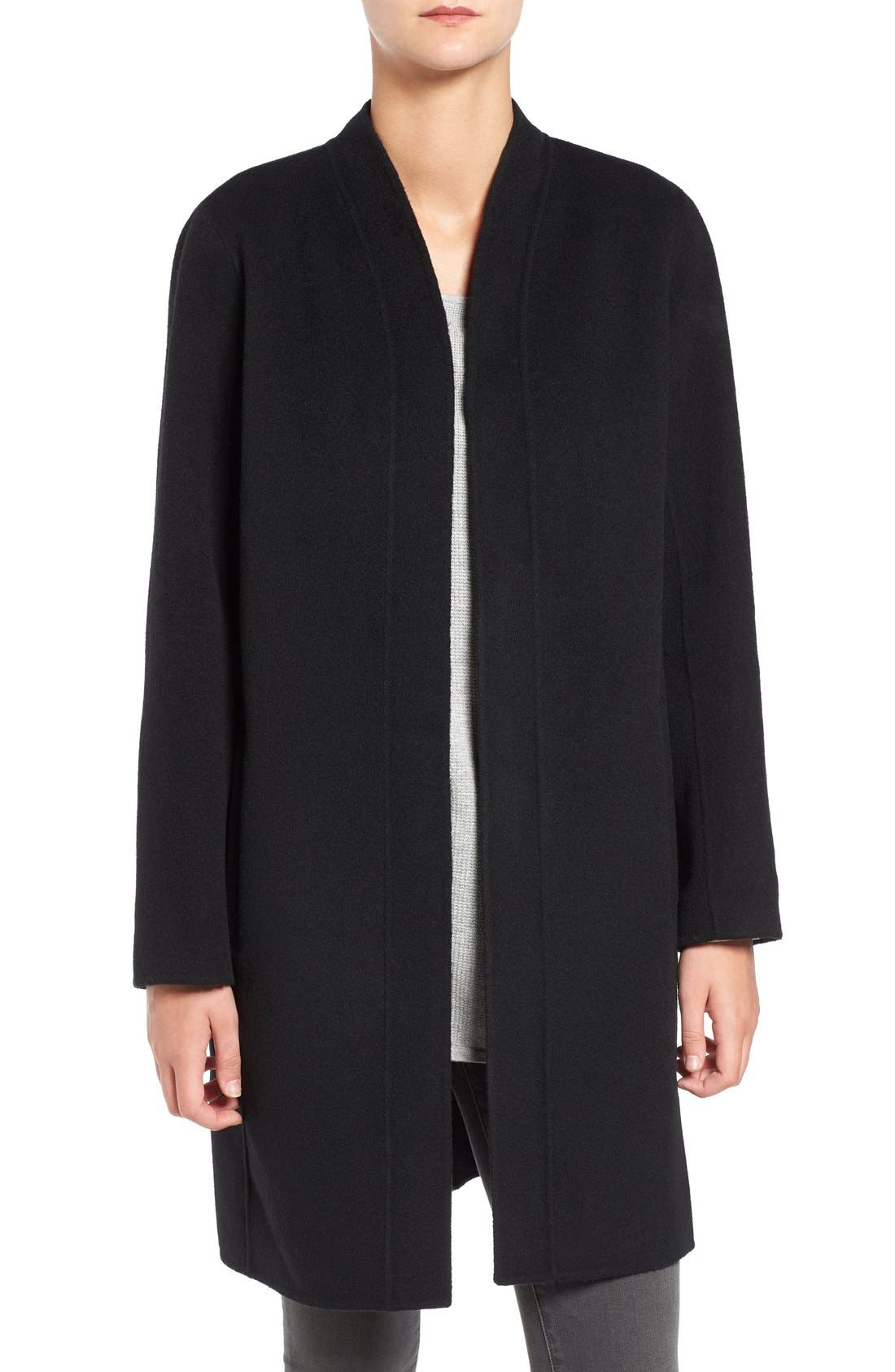 Double Face Brushed Wool Blend Kimono Jacket,                         Main,                         color, 001