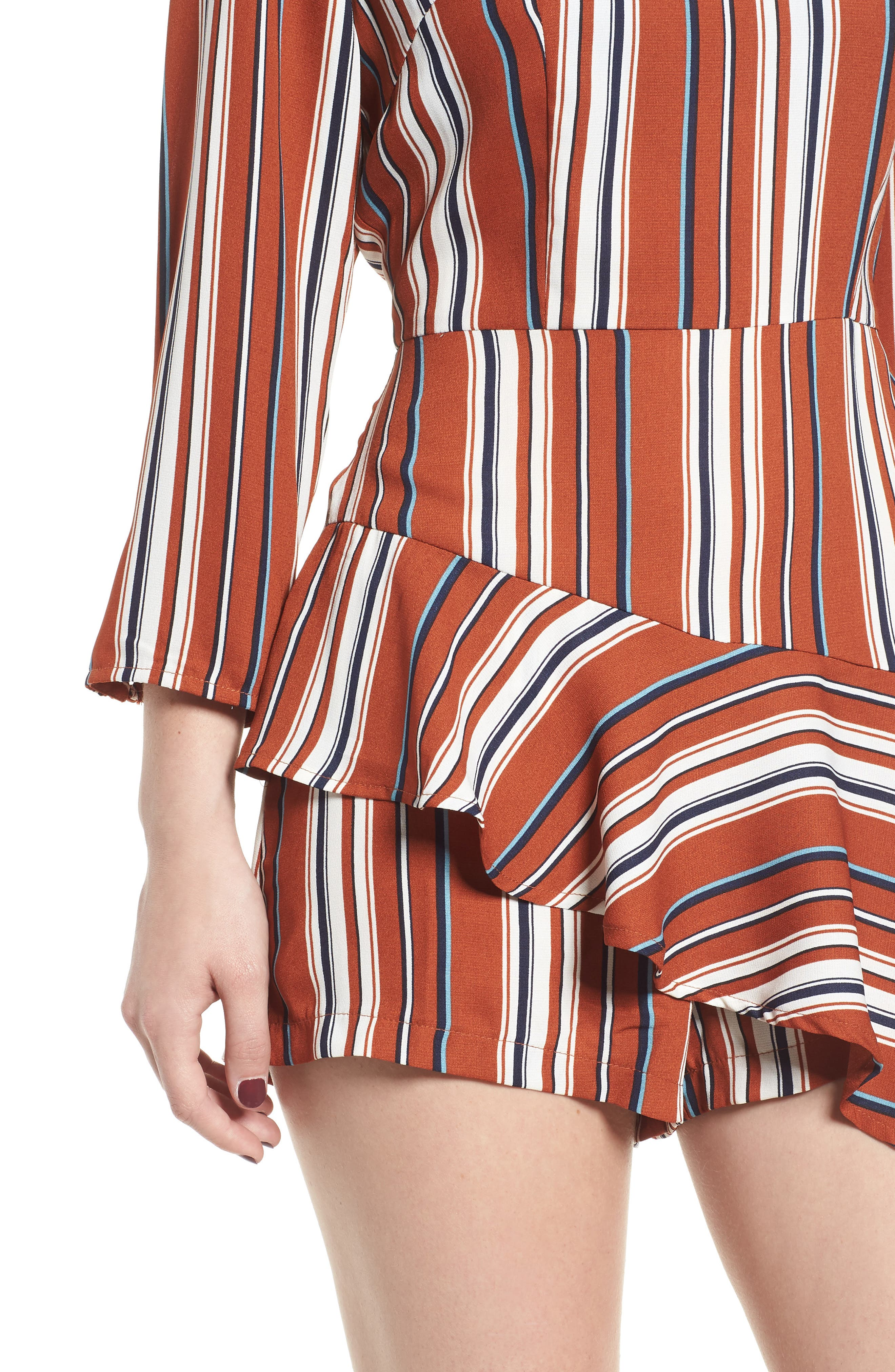 Ruffle Hem Romper,                             Alternate thumbnail 4, color,                             RUST STRIPE