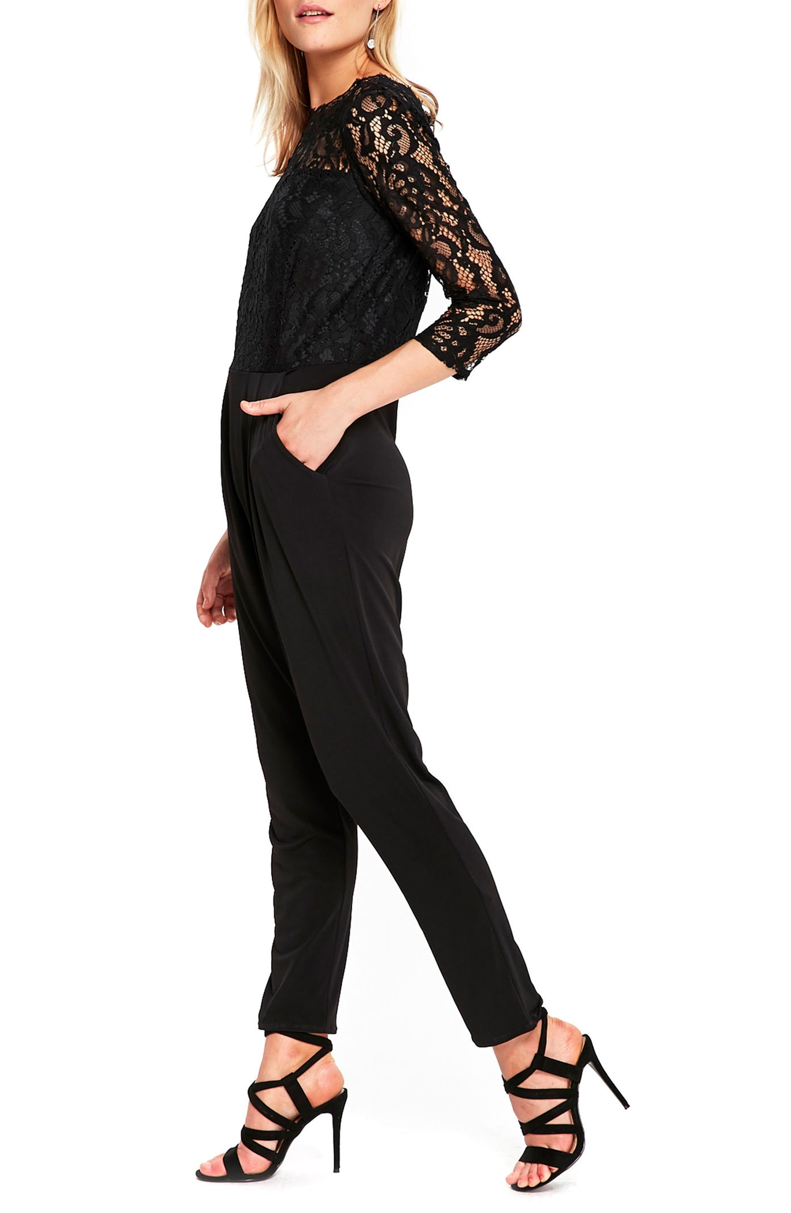 Lace Bodice Bateau Neck Jumpsuit,                             Alternate thumbnail 3, color,                             001