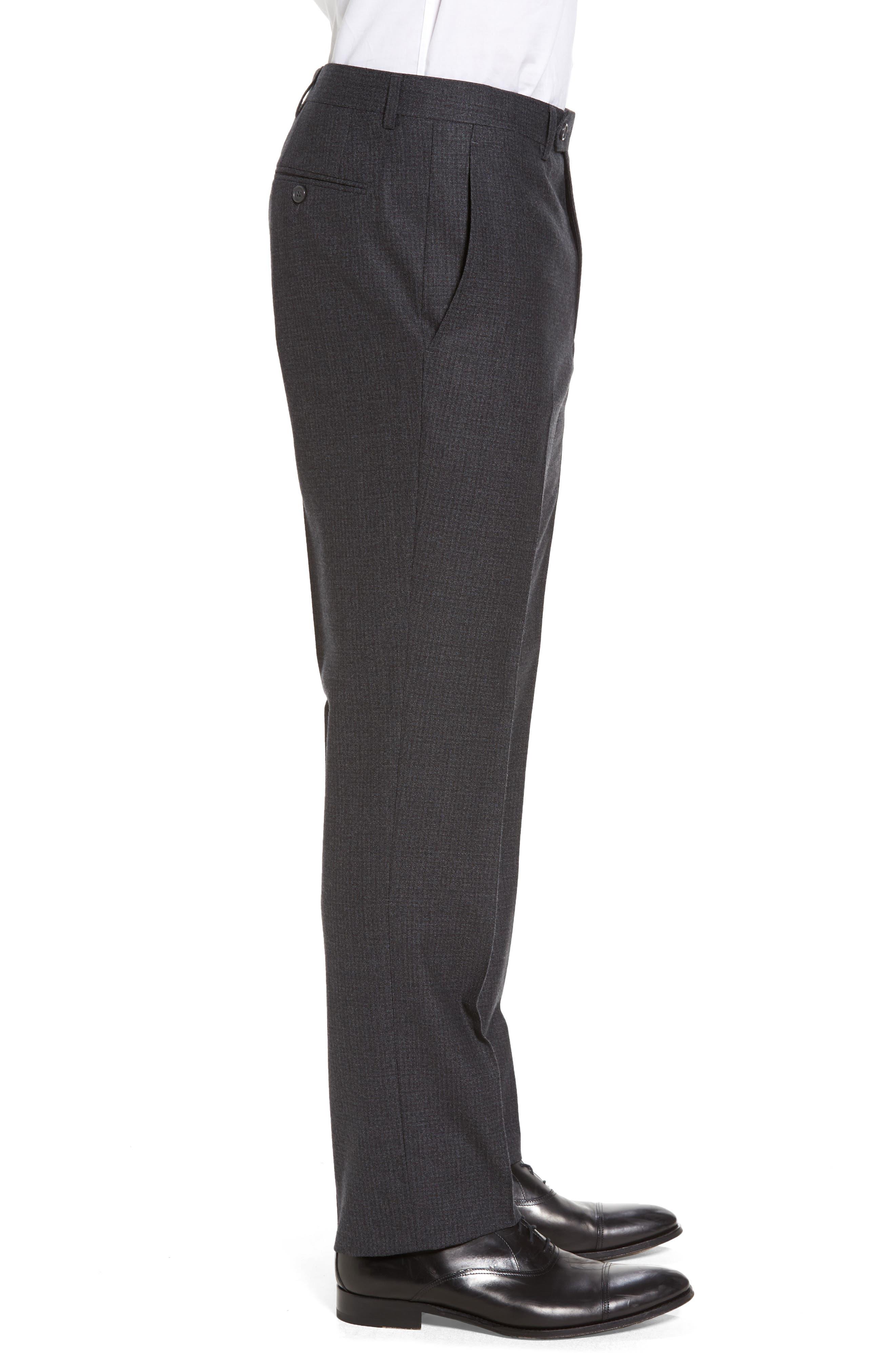Romero Regular Fit Flat Front Trousers,                             Alternate thumbnail 4, color,                             010