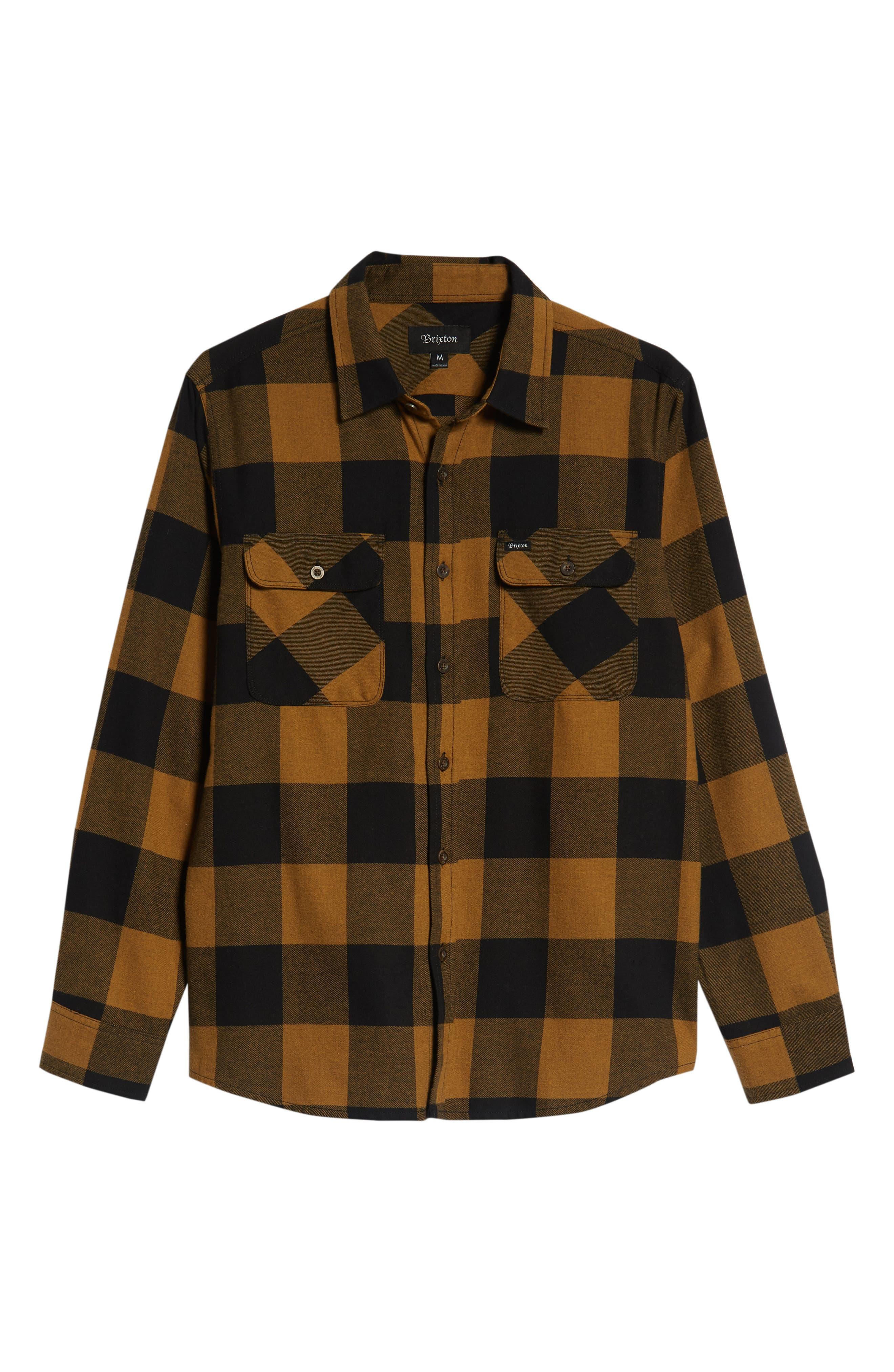 Bowery Buffalo Plaid Flannel Shirt,                             Alternate thumbnail 5, color,                             BLACK/ BRONZE