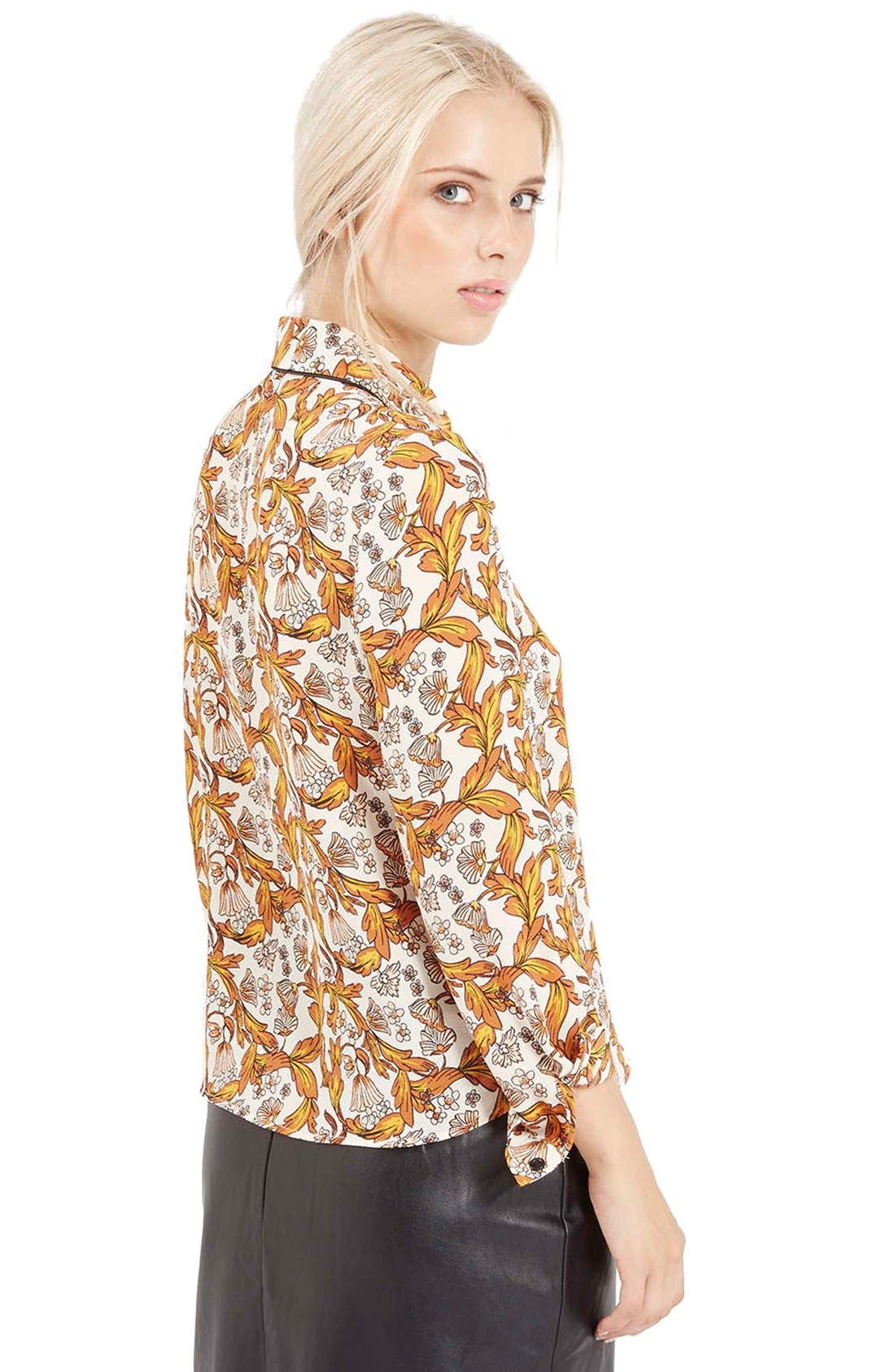 Piped Floral Print Shirt,                             Alternate thumbnail 5, color,                             900