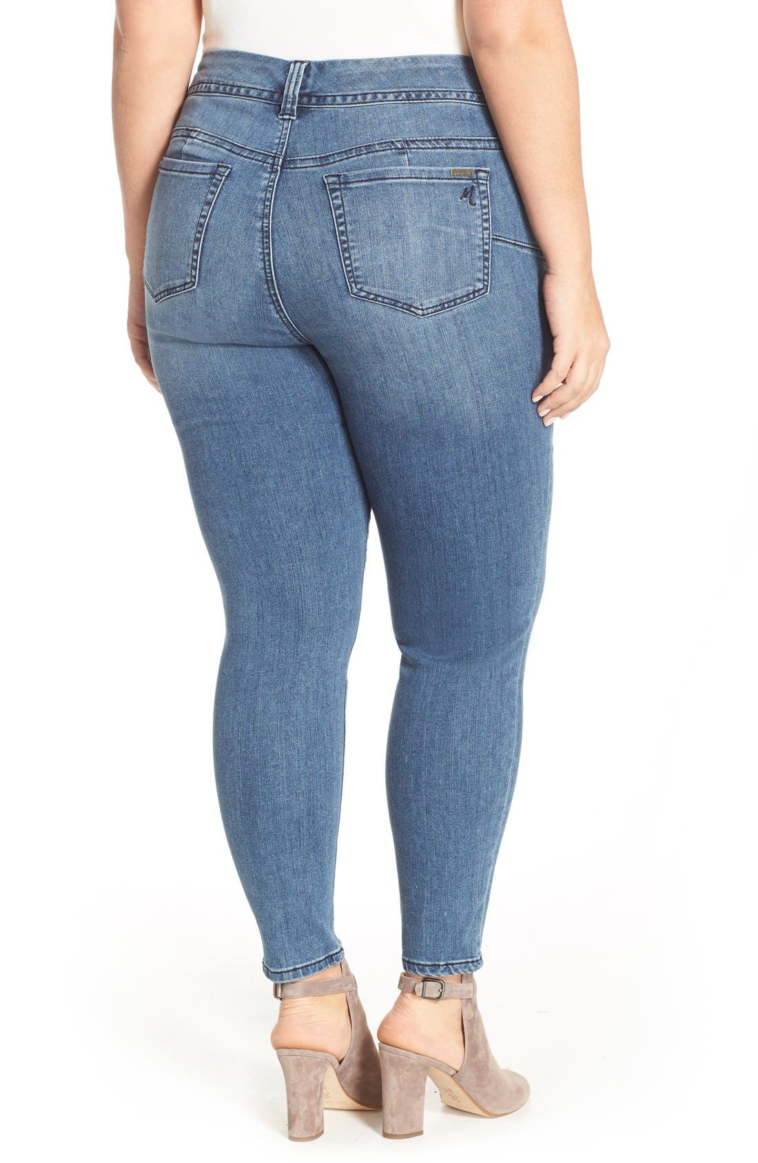 High Waist Stretch Pencil Jeans,                             Alternate thumbnail 3, color,                             421