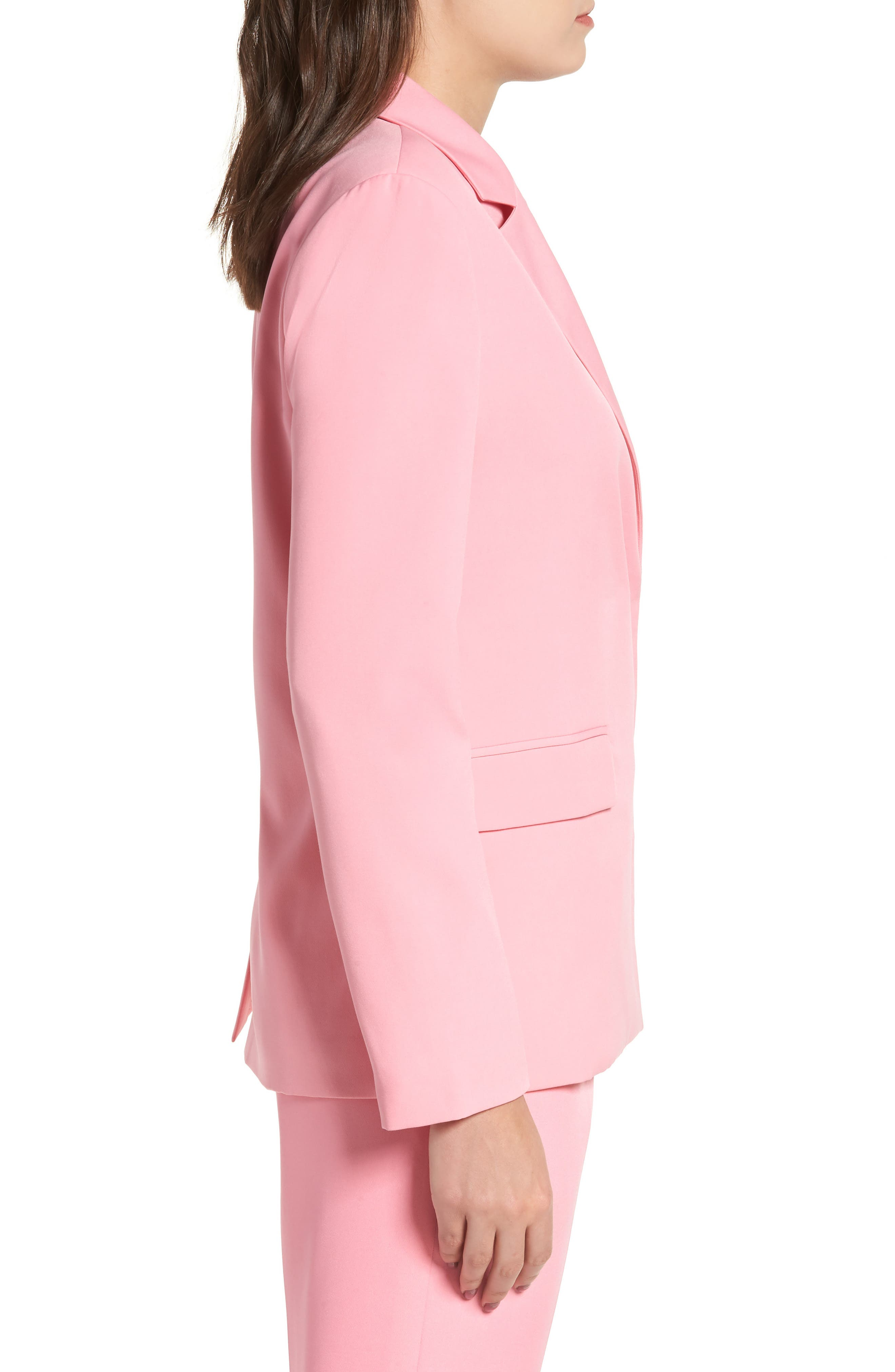 Peaked Lapel Jacket,                             Alternate thumbnail 3, color,                             CANDY PINK