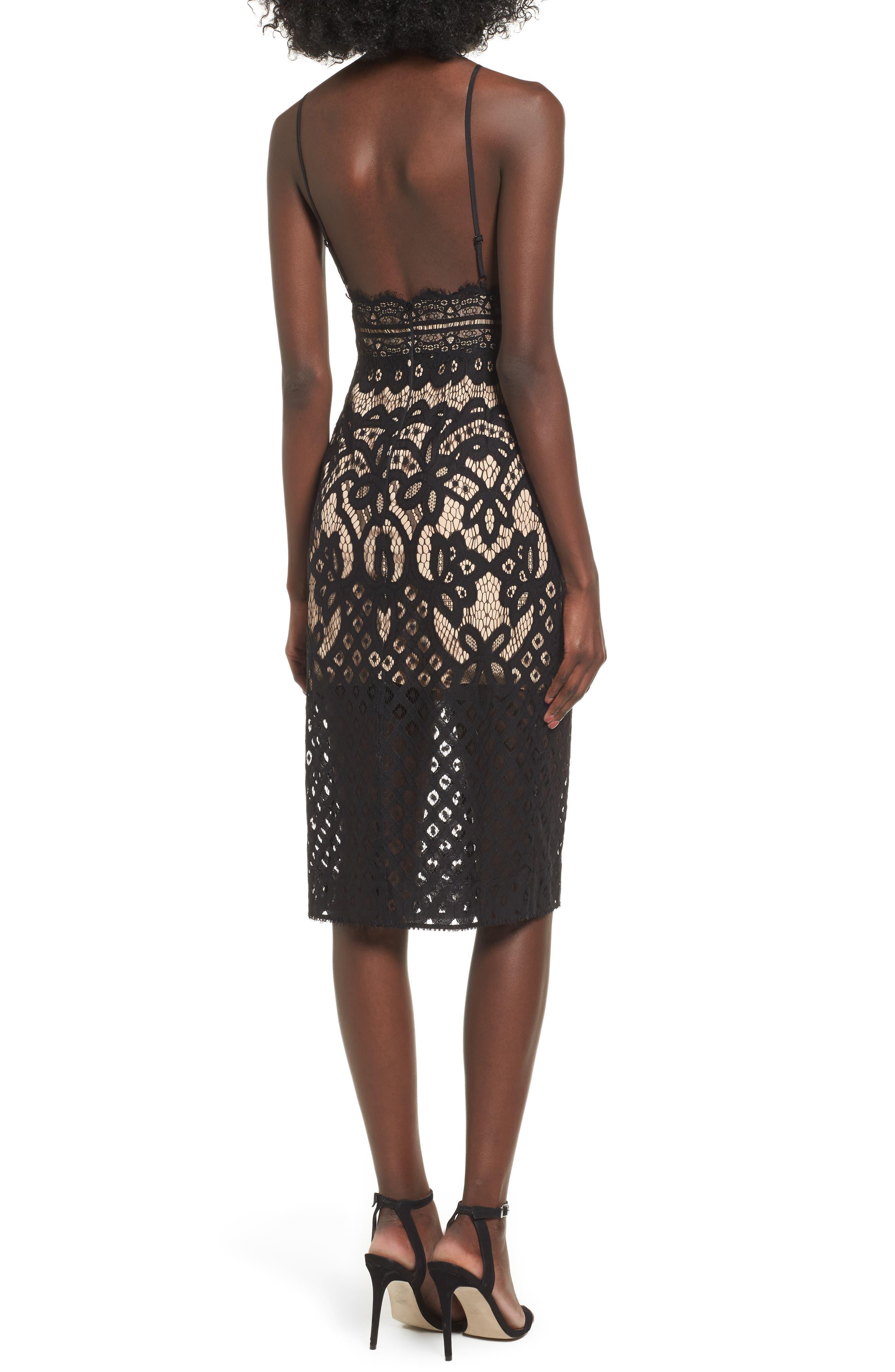 Bridges Lace Midi Dress,                             Alternate thumbnail 2, color,                             001