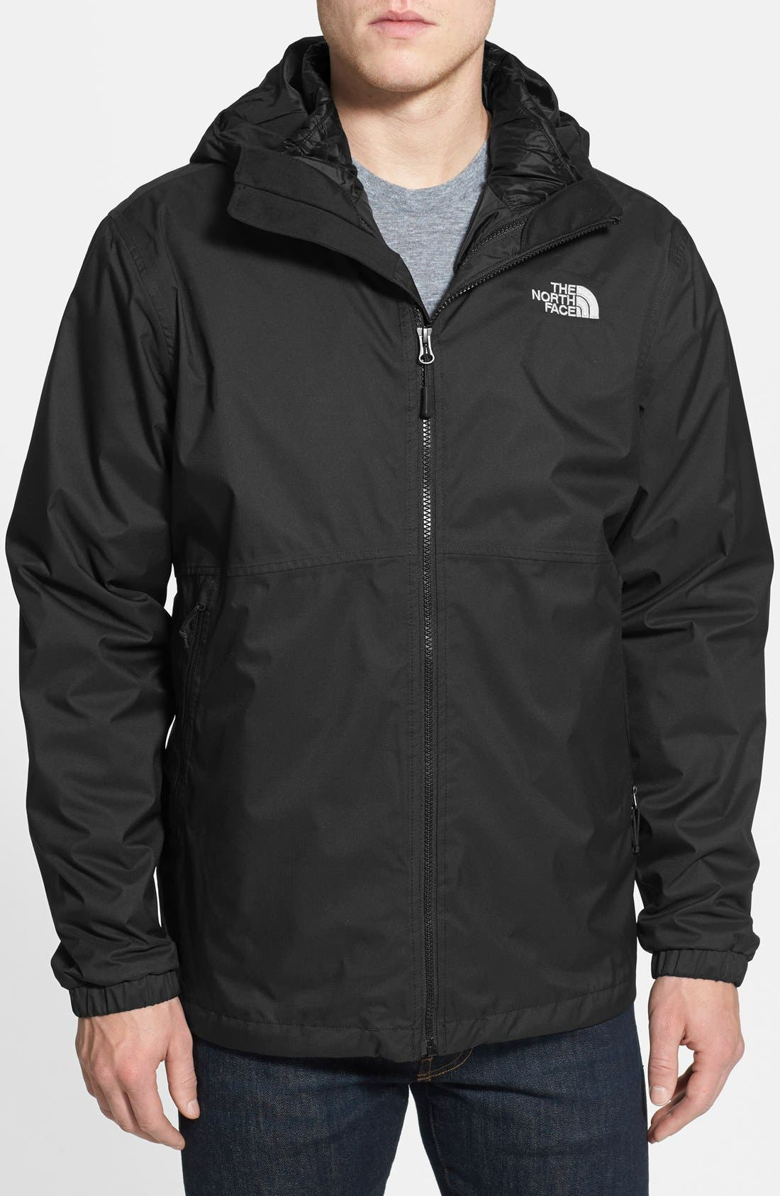 'All About' TriClimate<sup>®</sup> Waterproof Hooded 3-in-1 HyVent<sup>®</sup> Jacket,                             Main thumbnail 1, color,                             001