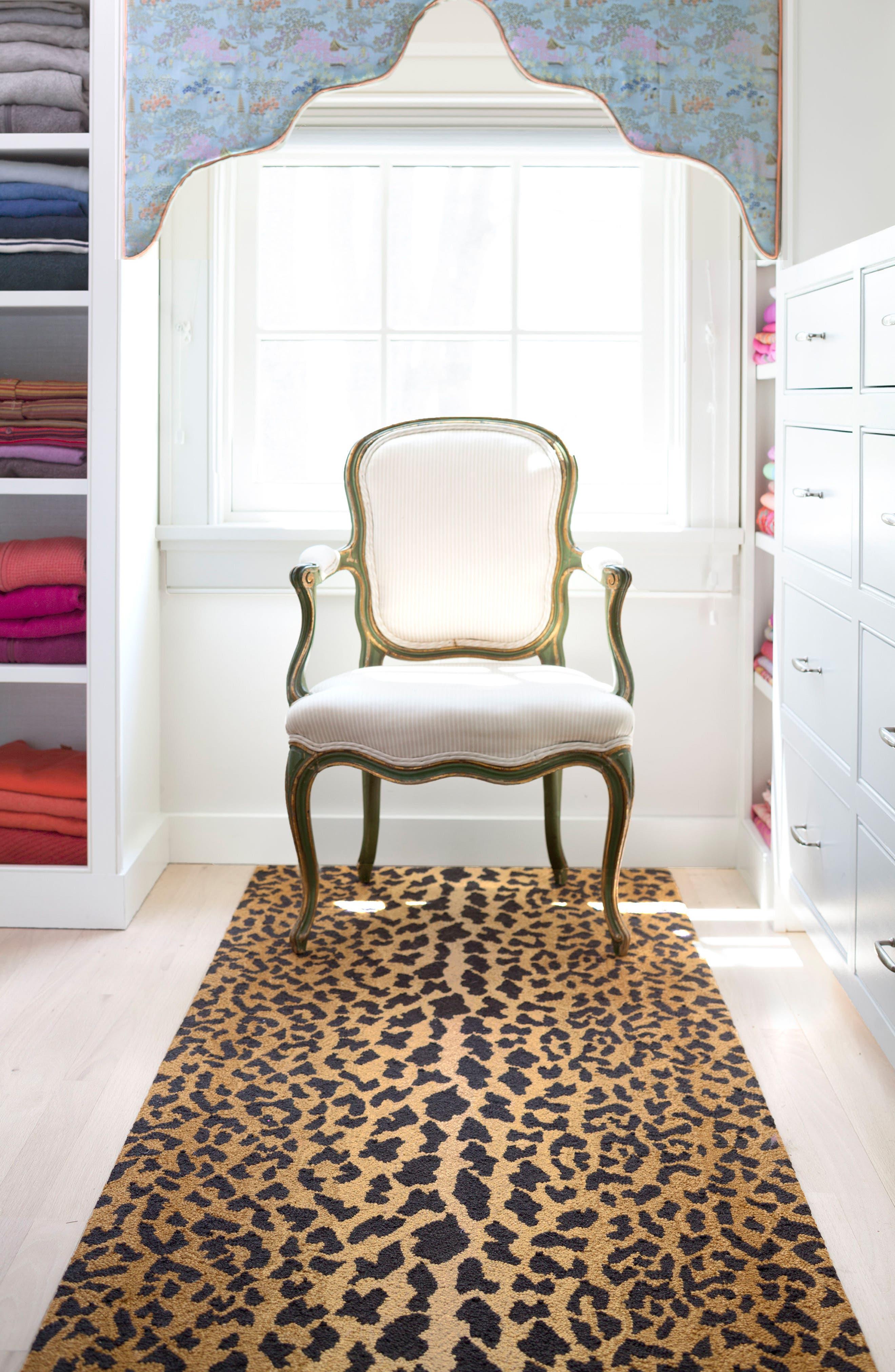 Leopard Print Wool Rug,                             Alternate thumbnail 3, color,                             BROWN