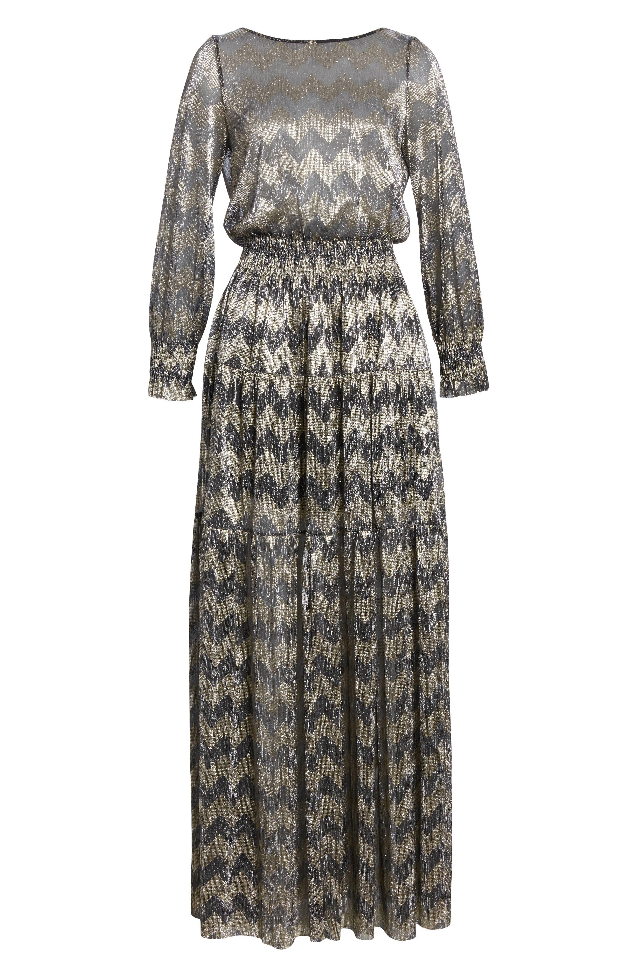 Grey Metallic Zigzag Maxi Dress,                             Alternate thumbnail 7, color,                             ANTHRACITE