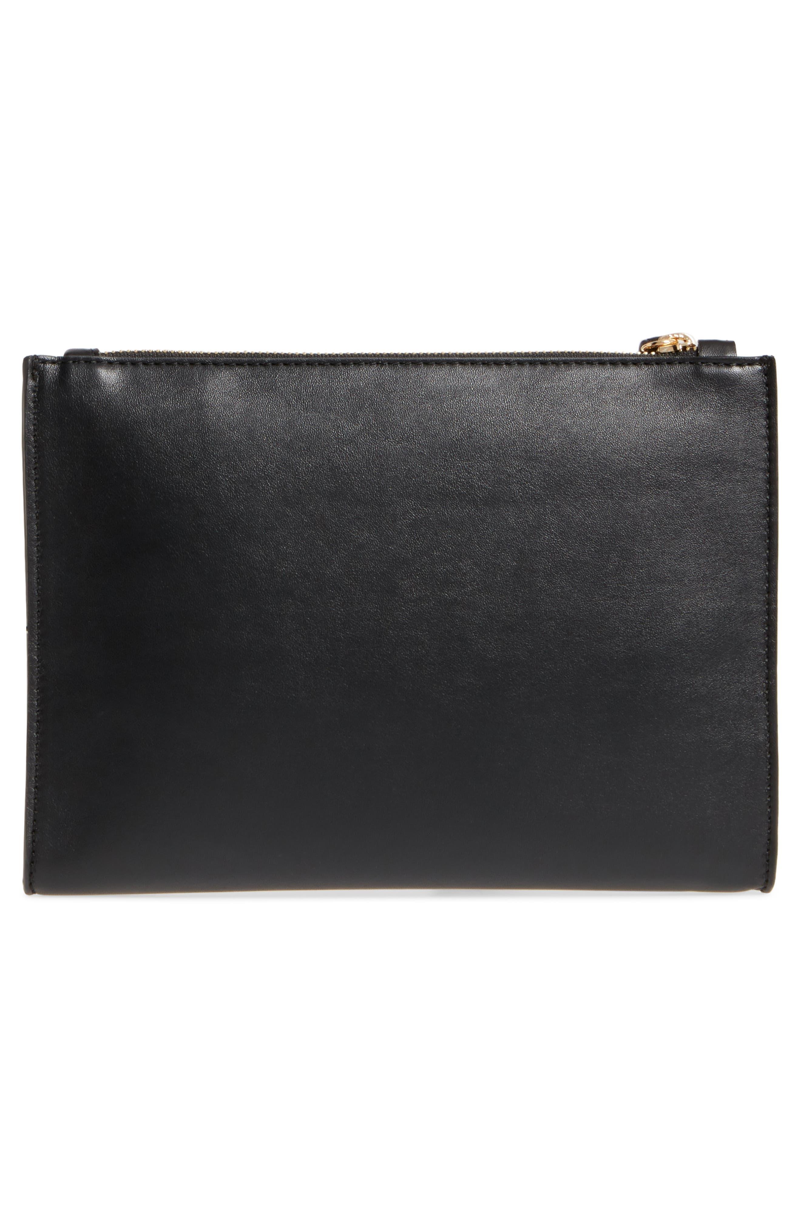 Alter Faux Nappa Leather Wristlet Clutch,                             Alternate thumbnail 3, color,                             BLACK
