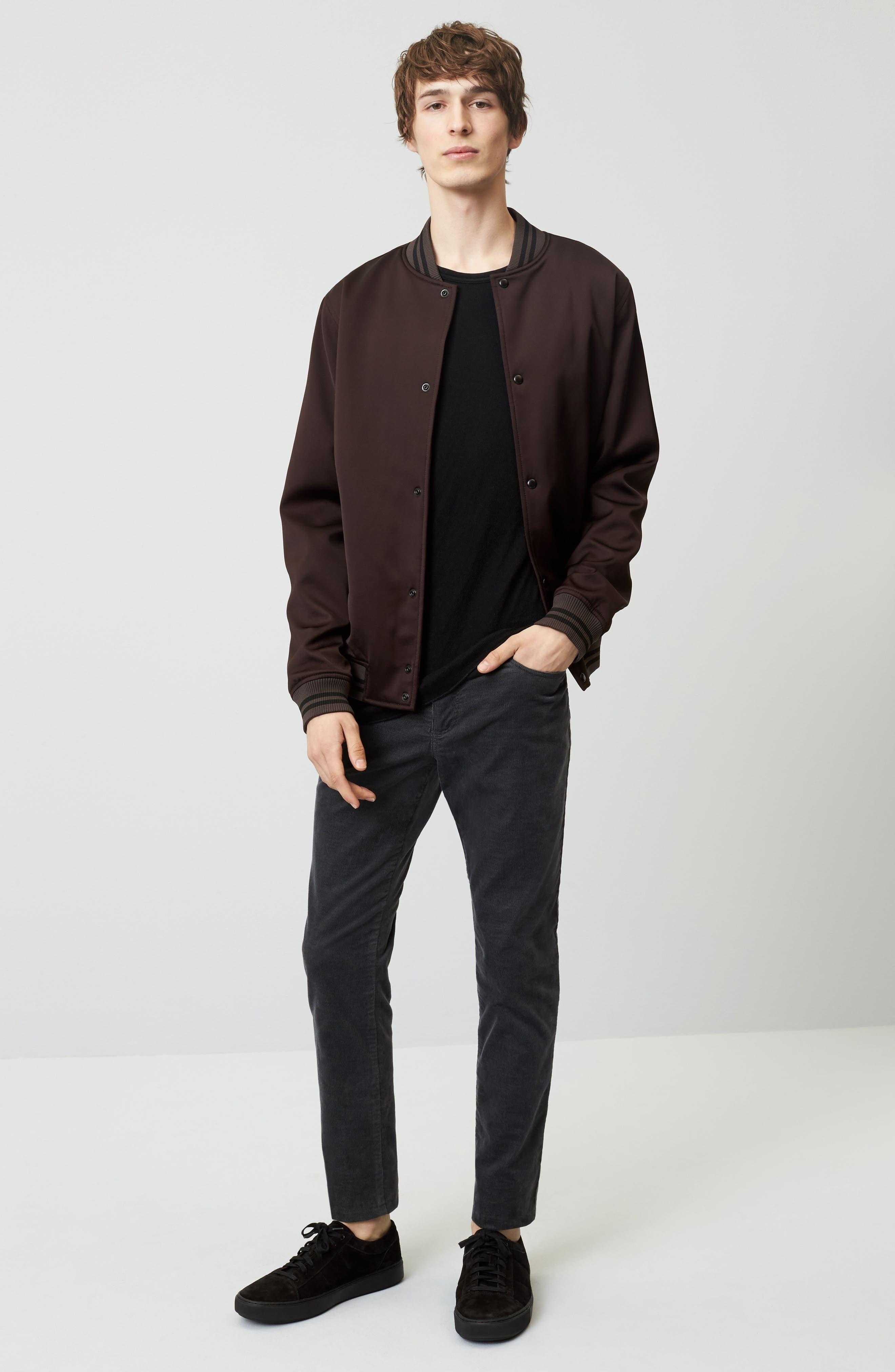 Double Knit Long Sleeve T-Shirt,                             Alternate thumbnail 8, color,                             BLACK