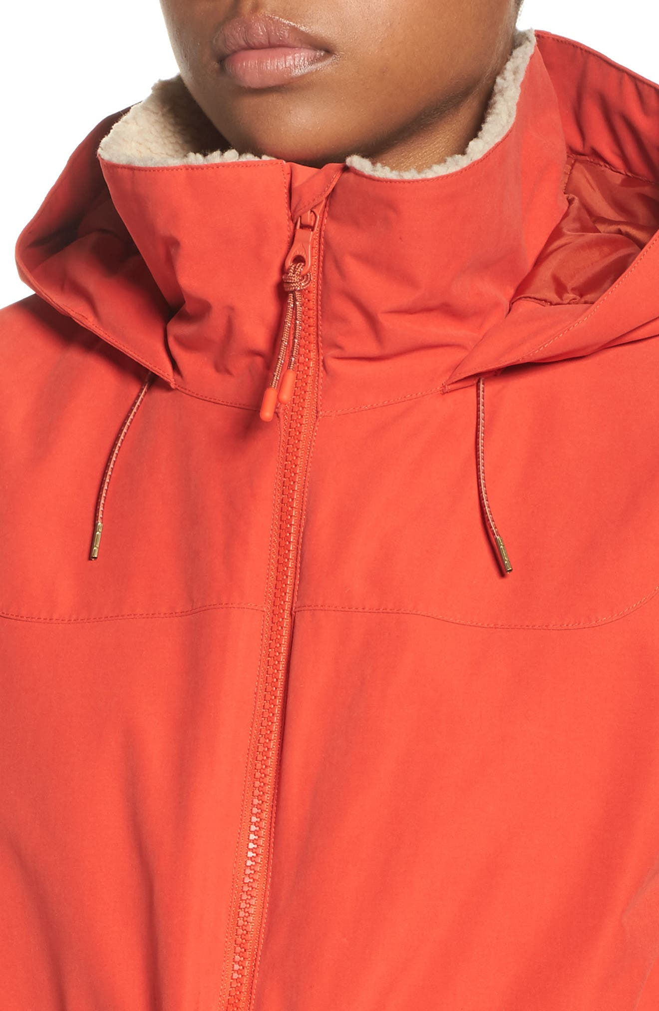 Prowess Fleece Lined Water Resistant Jacket,                             Alternate thumbnail 4, color,                             FIERY RED SUEDED