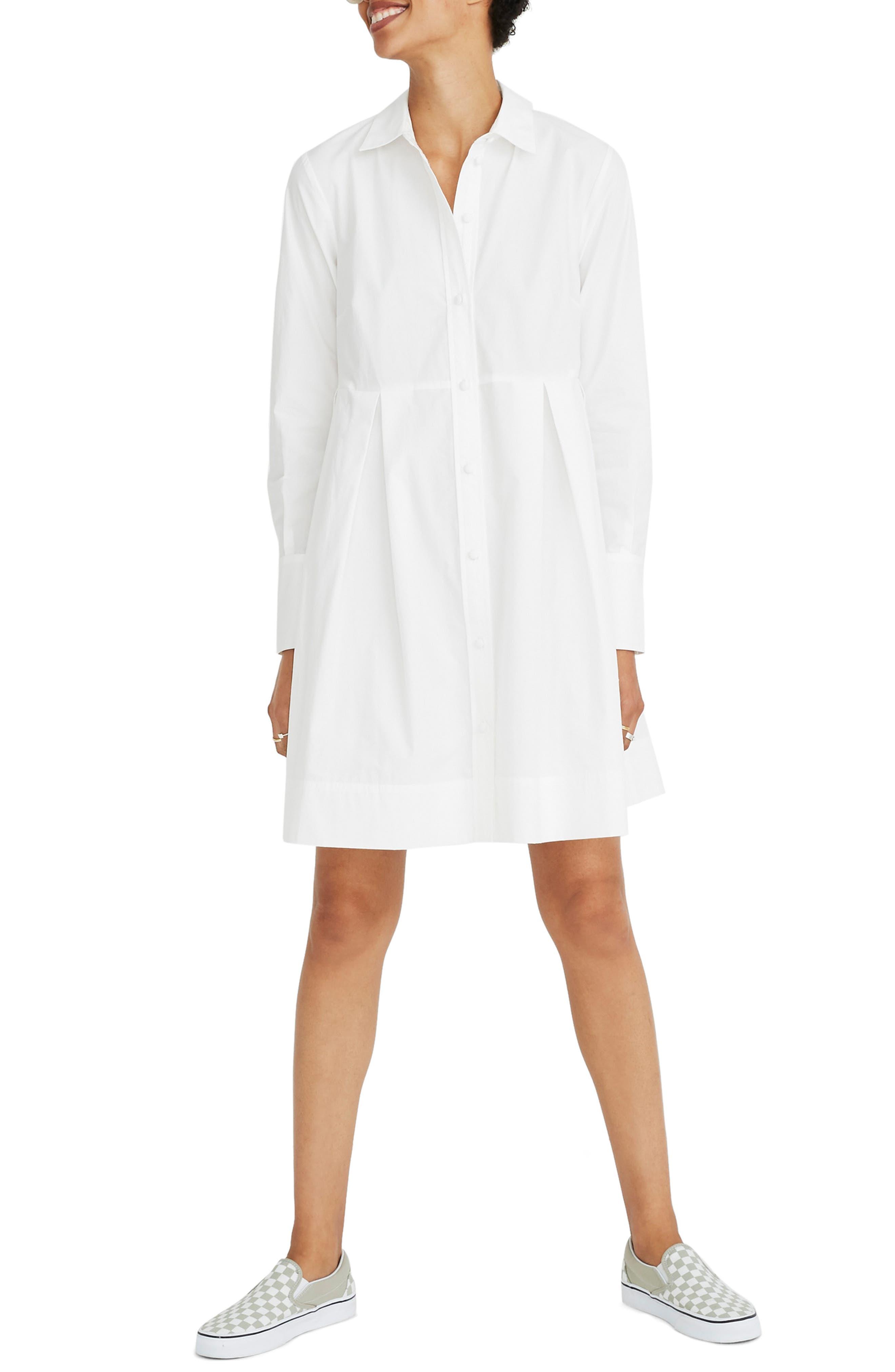 Box Pleat Shirtdress,                         Main,                         color, WHITE WASH