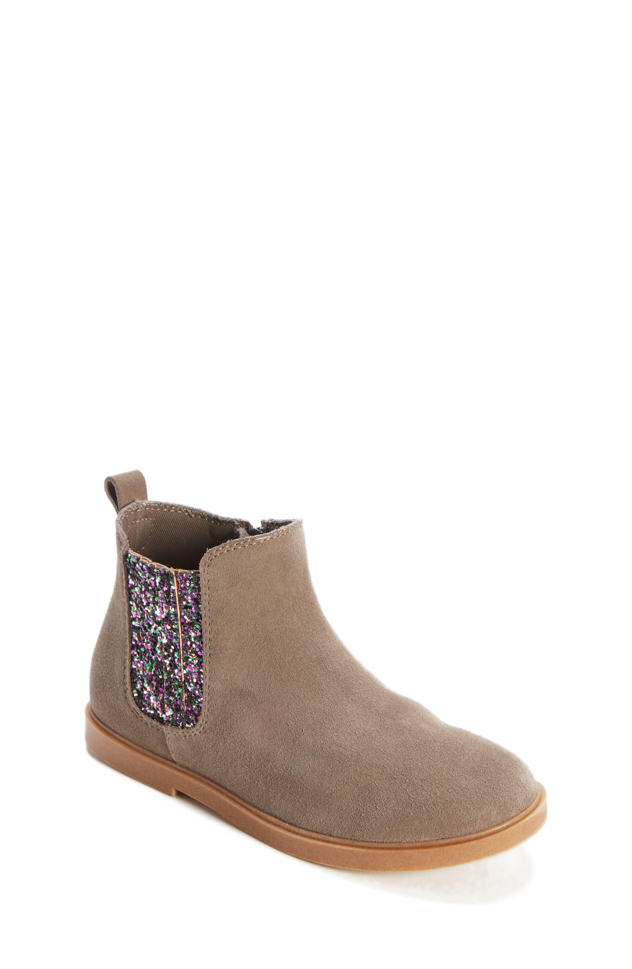 Alice Glitter Chelsea Boot,                         Main,                         color, GREY SUEDE