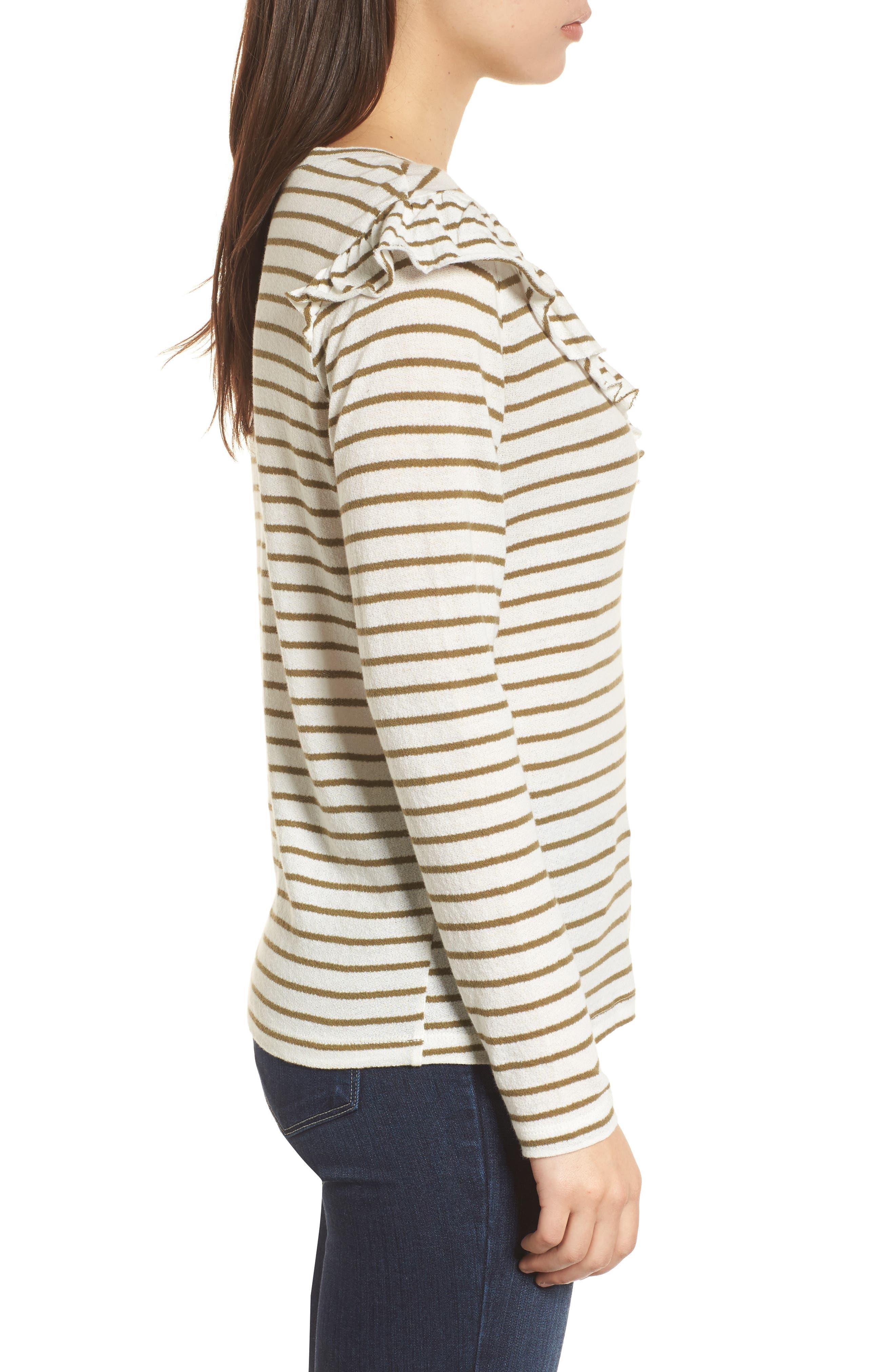 Stripe Asymmetrical Ruffle Top,                             Alternate thumbnail 3, color,                             310