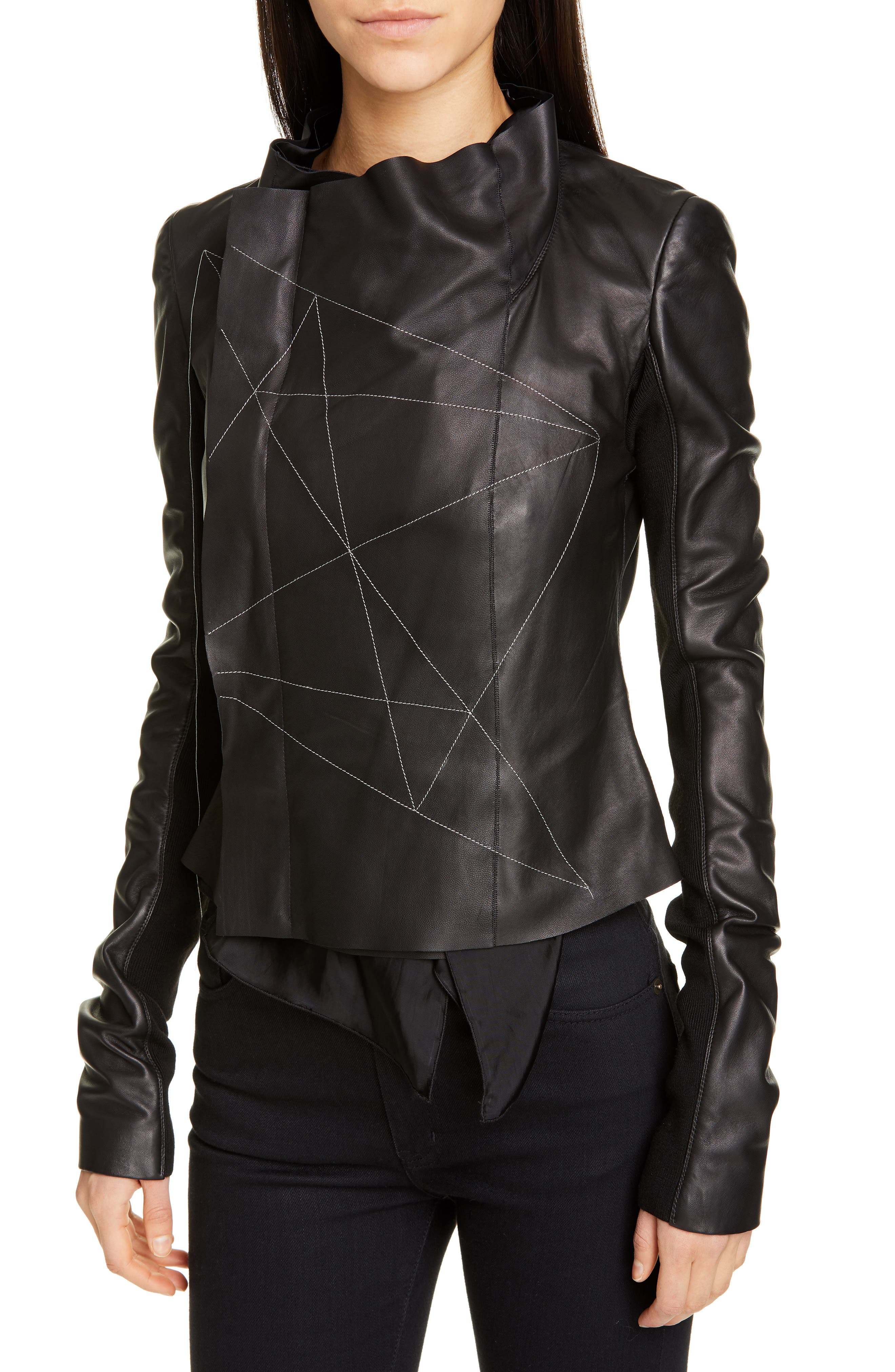 RICK OWENS,                             Embroidered Leather Biker Jacket,                             Alternate thumbnail 4, color,                             BLACK PEARL