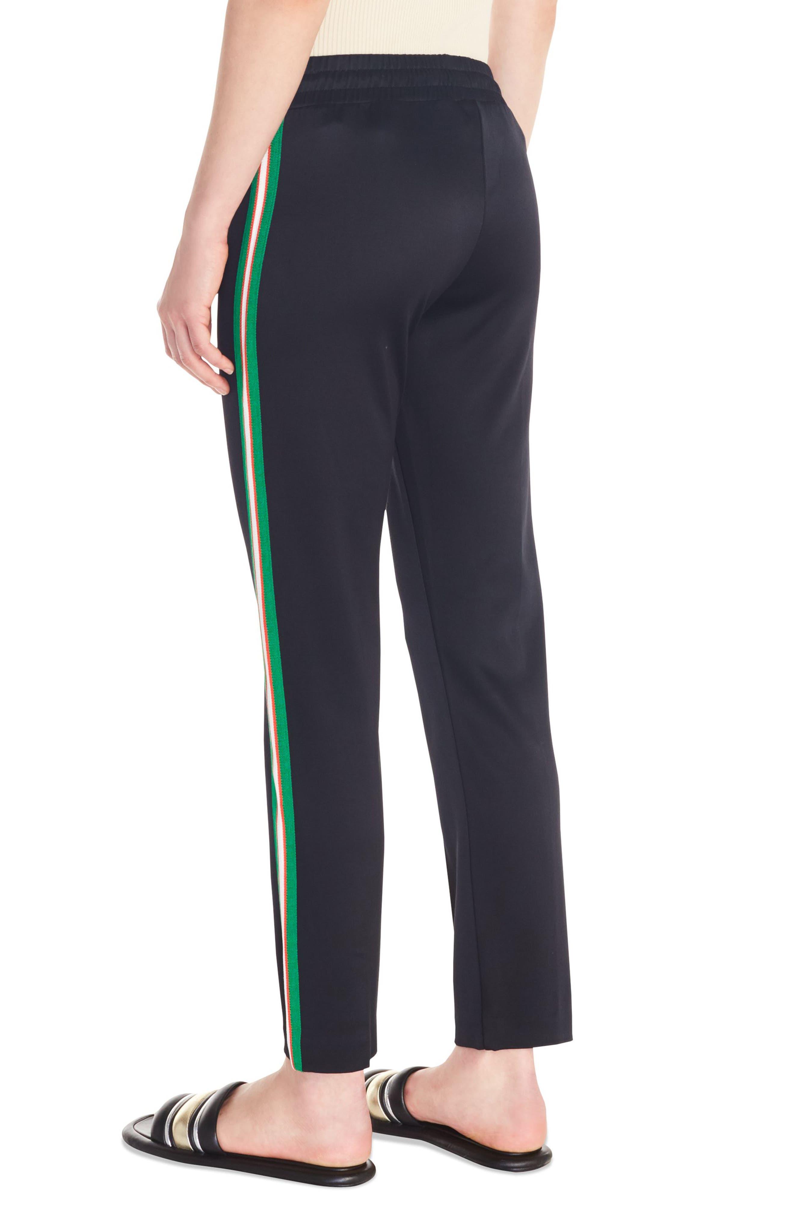 Jeanne Side Stripe Track Pants,                             Alternate thumbnail 2, color,                             BLACK