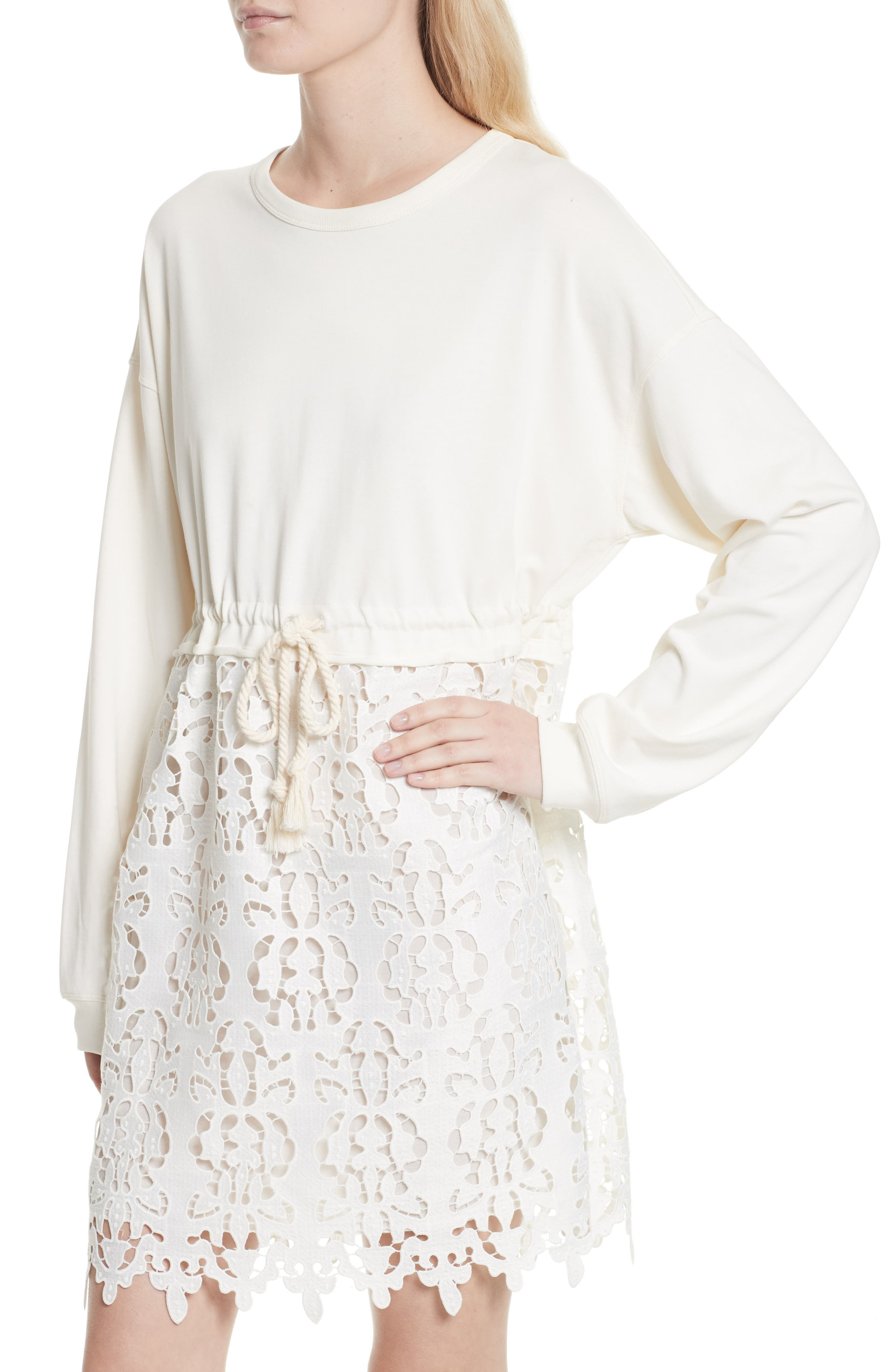 SEE BY CHLOÉ,                             Lace Skirt Sweatshirt Dress,                             Alternate thumbnail 4, color,                             101