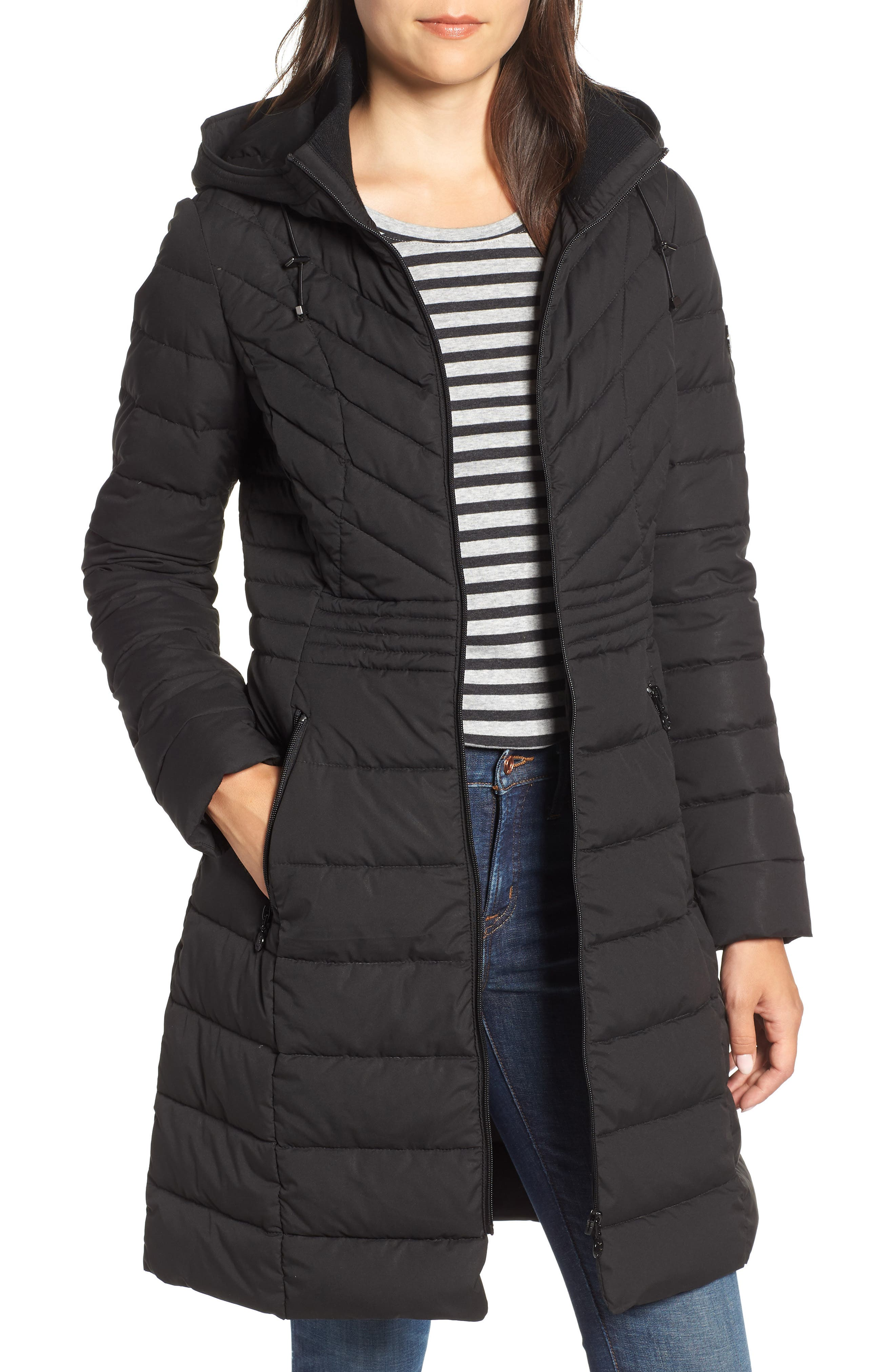 Stretch Quilted Walker Coat, Main, color, 001
