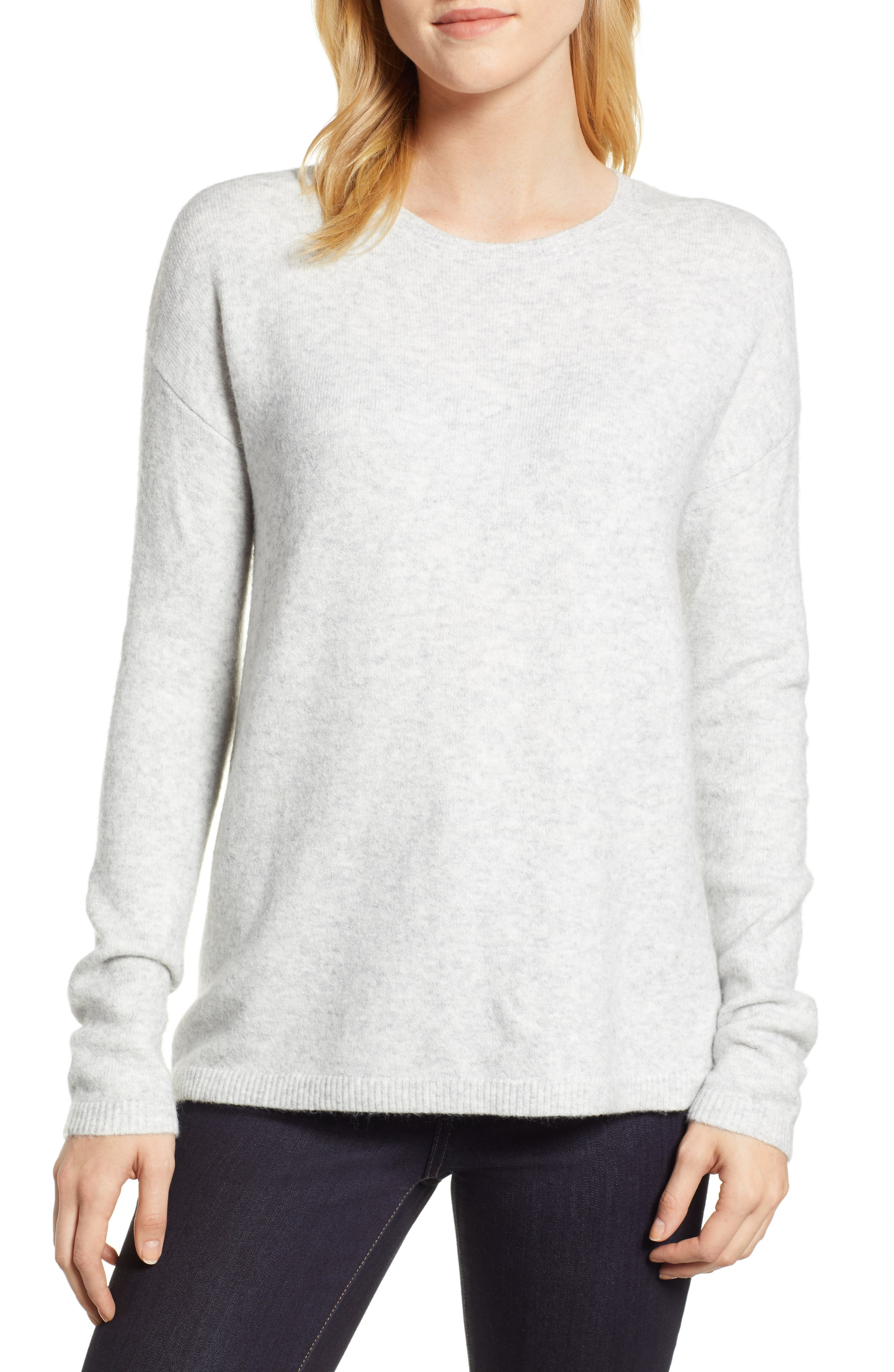 Bow Back Sweater,                         Main,                         color, HEATHER LIGHT GREY