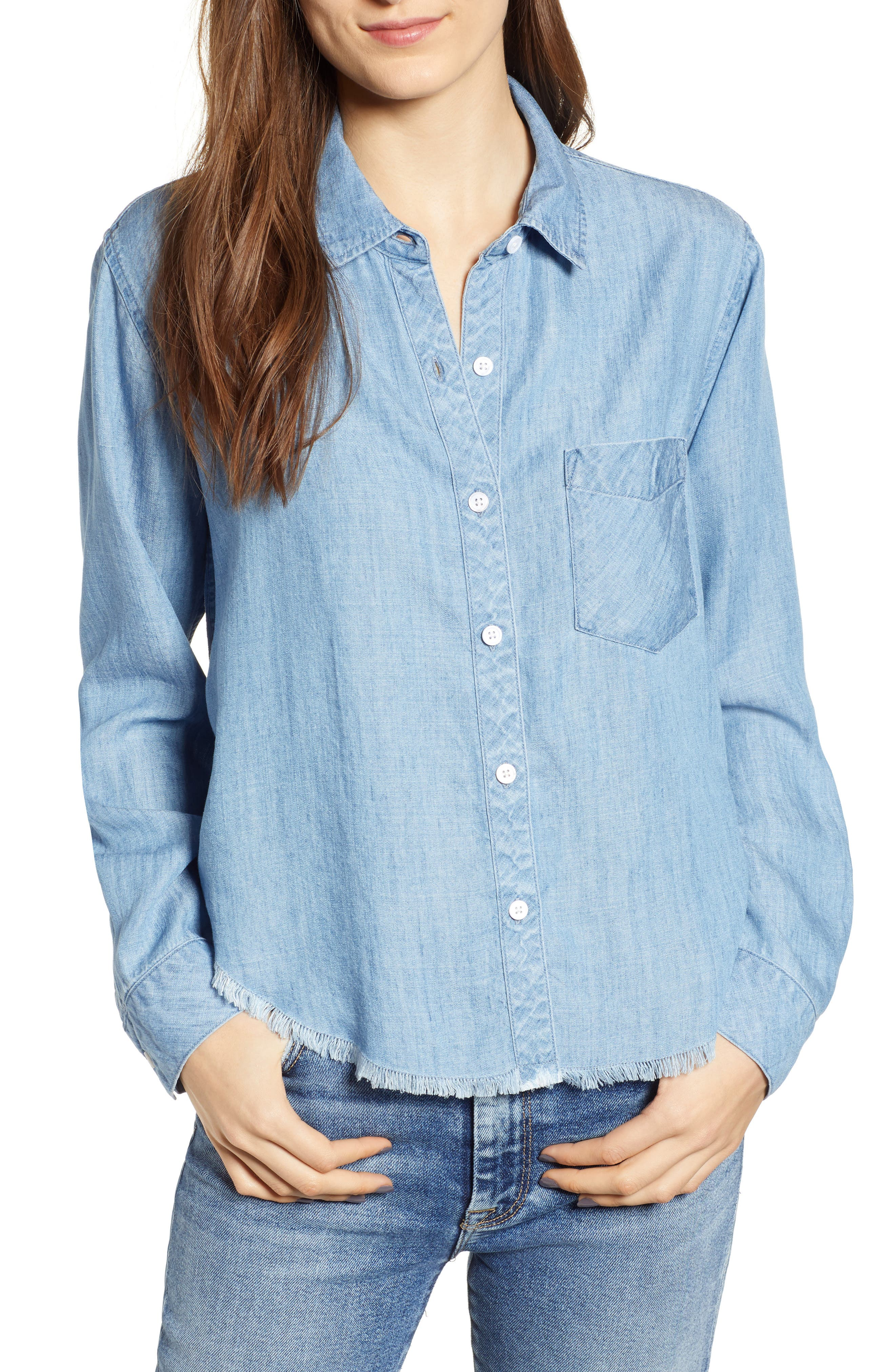 RAILS Ingrid Button-Front Chambray Shirt W/ Studded Trim in Medium Vintage