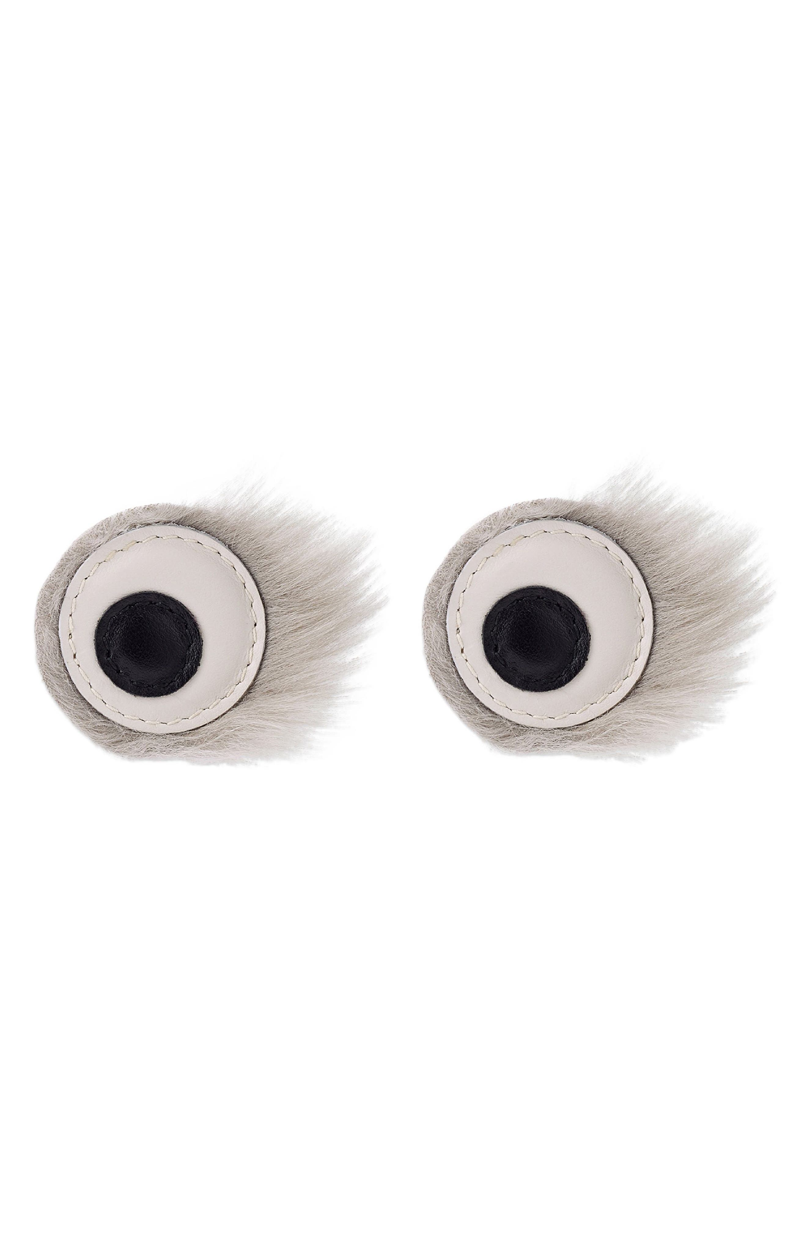 Build a Bag Genuine Shearling Furry Eye Stickers,                             Main thumbnail 1, color,                             020