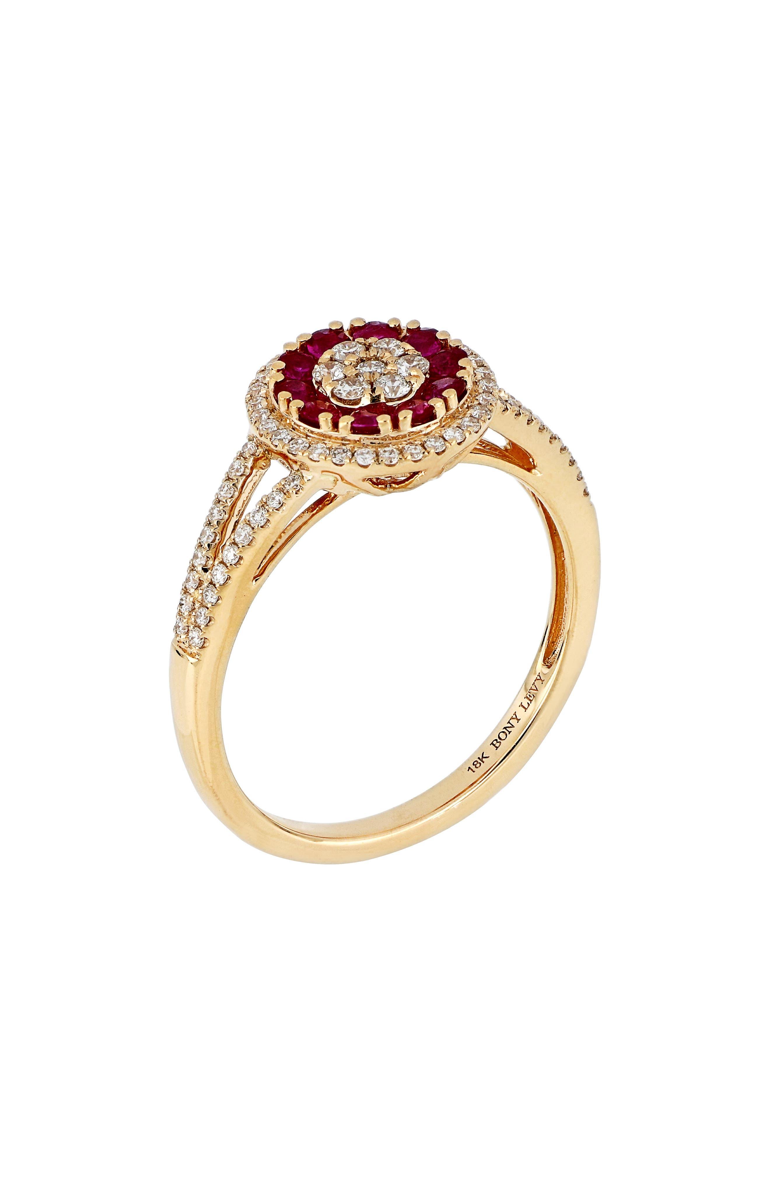 Gemstone & Diamond Ring,                             Main thumbnail 1, color,                             ROSE GOLD/ RUBY