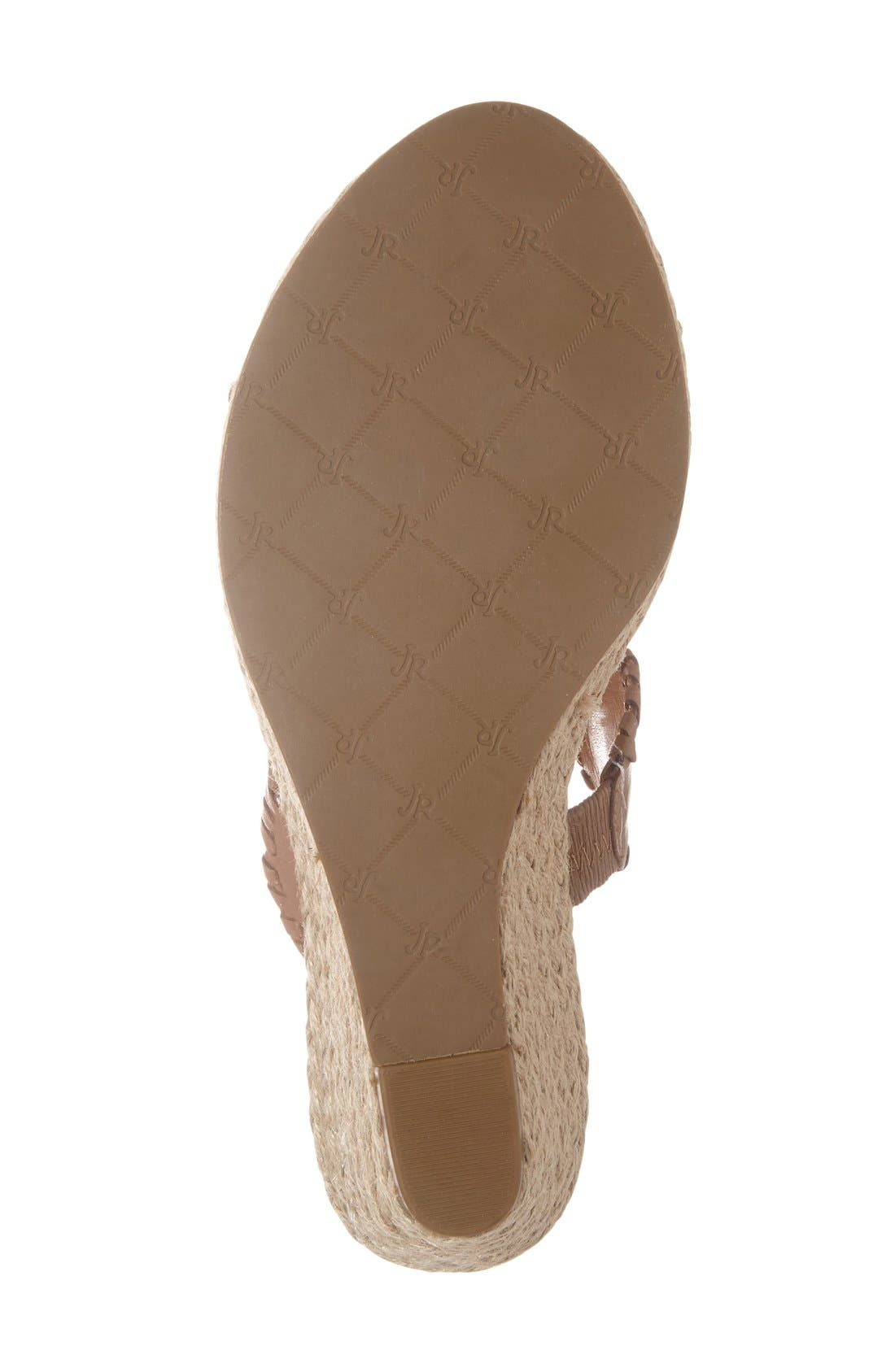 'Shelby' Whipstitched Wedge Sandal,                             Alternate thumbnail 4, color,                             COGNAC