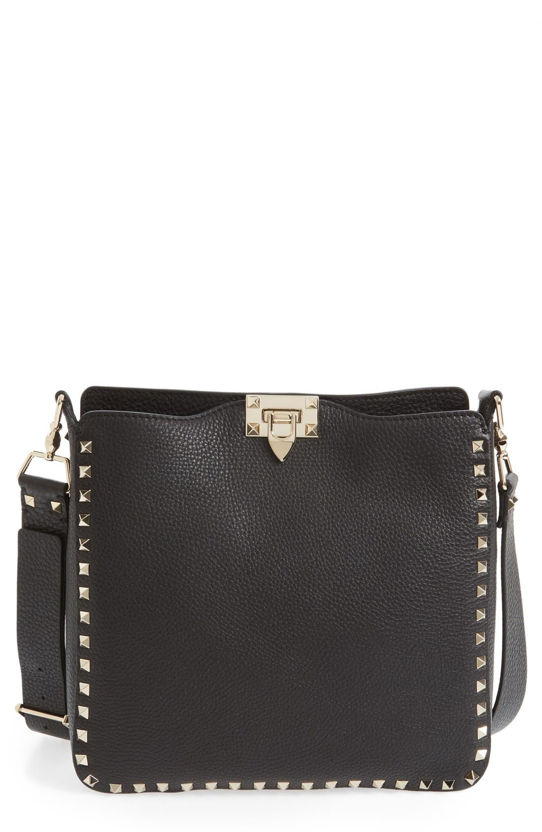 Vitello Rockstud Hobo,                             Main thumbnail 1, color,                             NERO