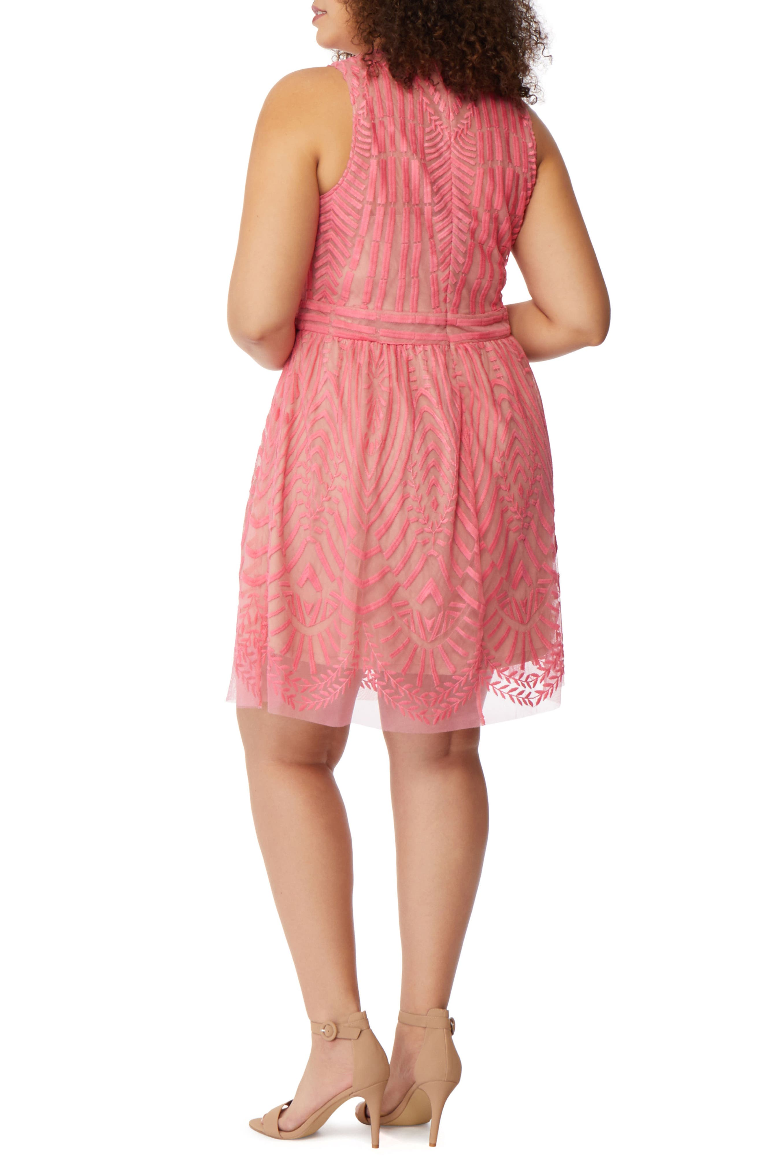 Embroidered Mesh A-Line Dress,                             Alternate thumbnail 2, color,