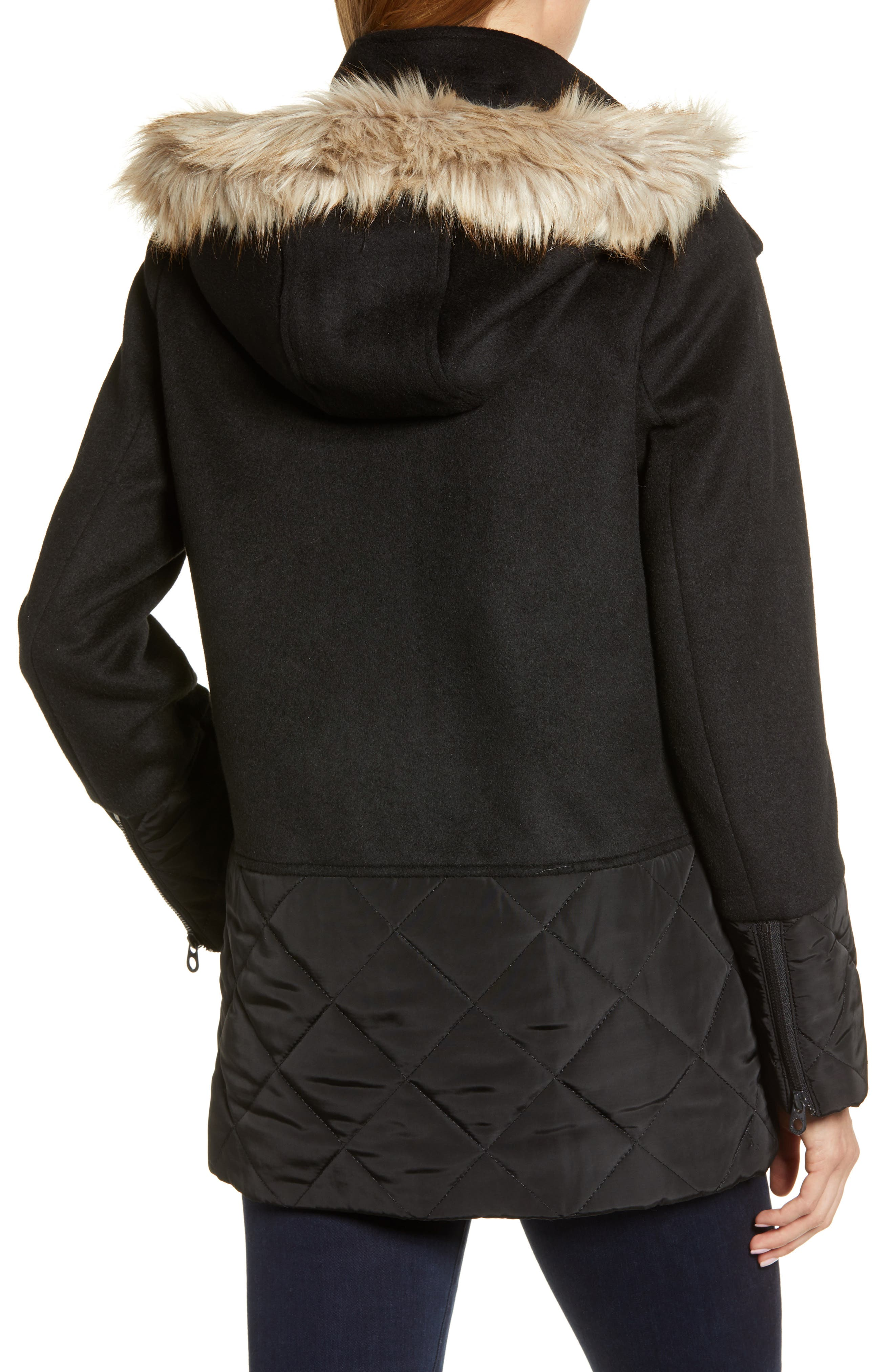 Mixed Texture Hooded Coat with Faux Fur Trim,                             Alternate thumbnail 2, color,                             BLACK