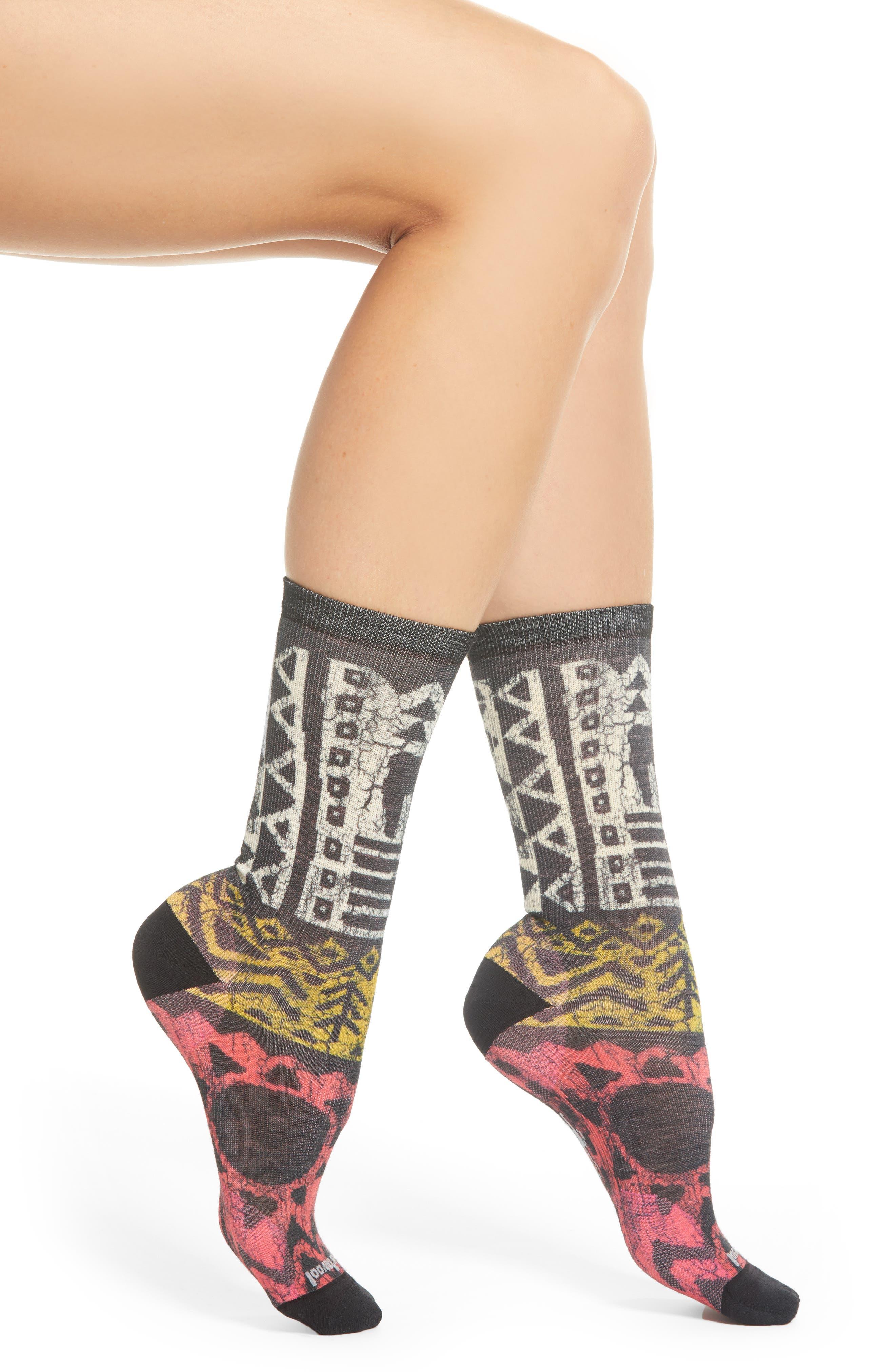 Block Print Crew Socks,                         Main,                         color, POTION PINK