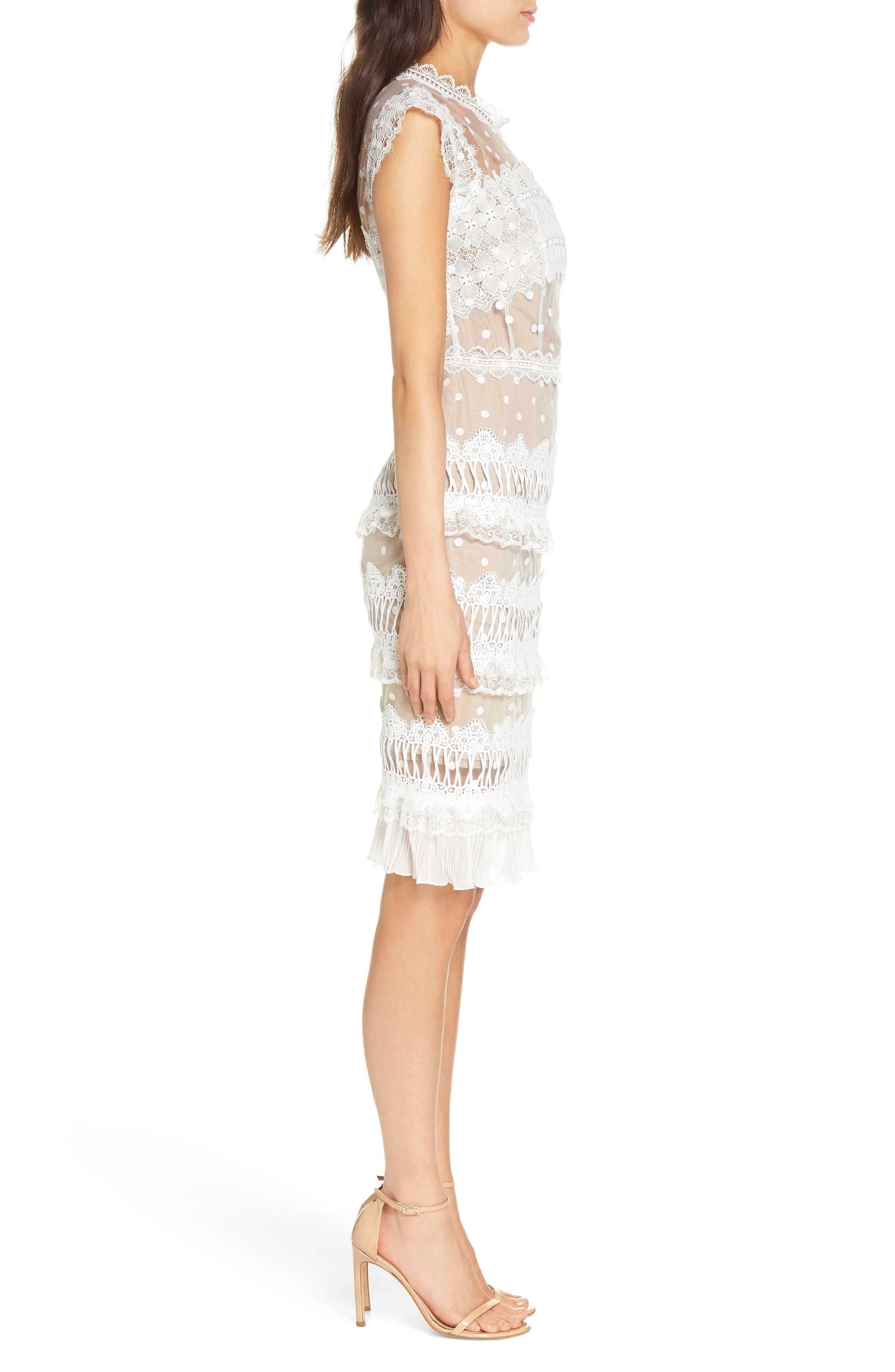 Majiorca Dot Lace Cocktail Dress,                             Alternate thumbnail 3, color,                             WHITE