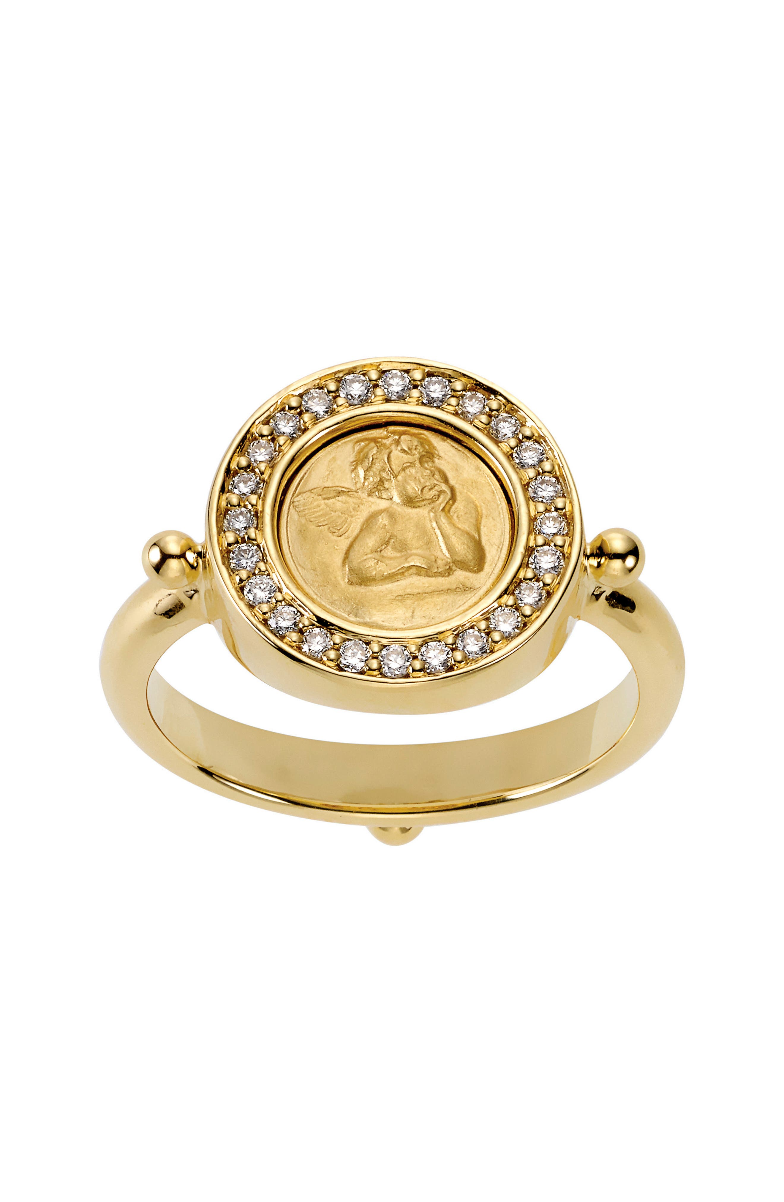 Temple St. Clair Diamond Pavé Ring,                             Main thumbnail 1, color,                             YELLOW GOLD